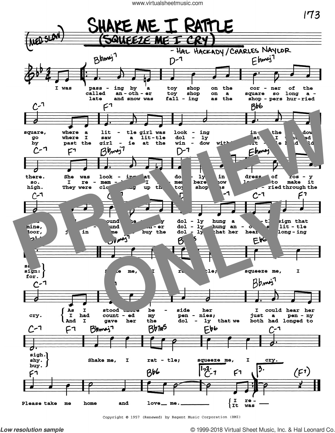 Shake Me I Rattle (Squeeze Me I Cry) sheet music for voice and other instruments (real book with lyrics) by Hal Clayton Hackady and Charles Naylor, intermediate skill level