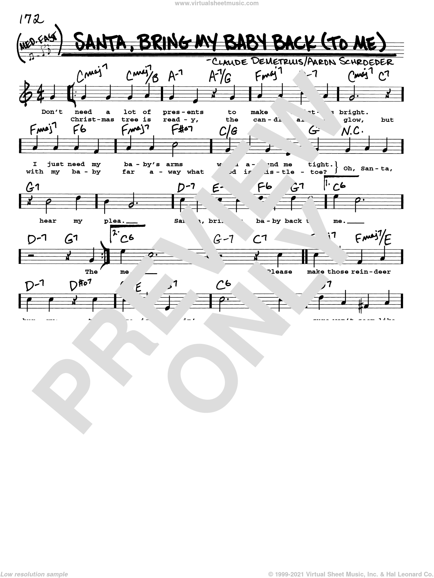 Santa, Bring My Baby Back (To Me) sheet music for voice and other instruments (real book with lyrics) by Elvis Presley, Aaron Schroeder and Claude DeMetruis, intermediate skill level