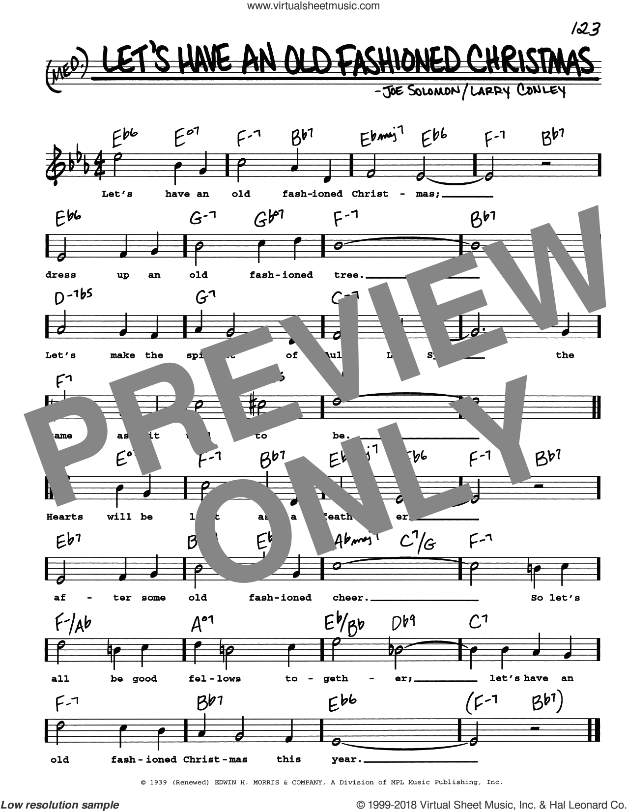 Let's Have An Old Fashioned Christmas sheet music for voice and other instruments (real book with lyrics) by Larry Conley and Joe Solomon, intermediate skill level