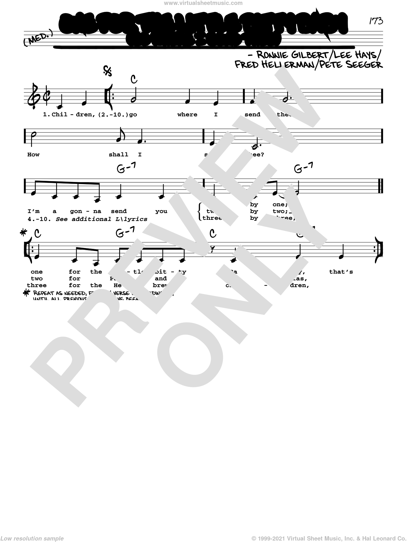 One For The Little Bitty Baby (Go Where I Send Thee) sheet music for voice and other instruments (real book with lyrics) by Ronnie Gilbert, Fred Hellerman, Lee Hays and Pete Seeger, intermediate skill level