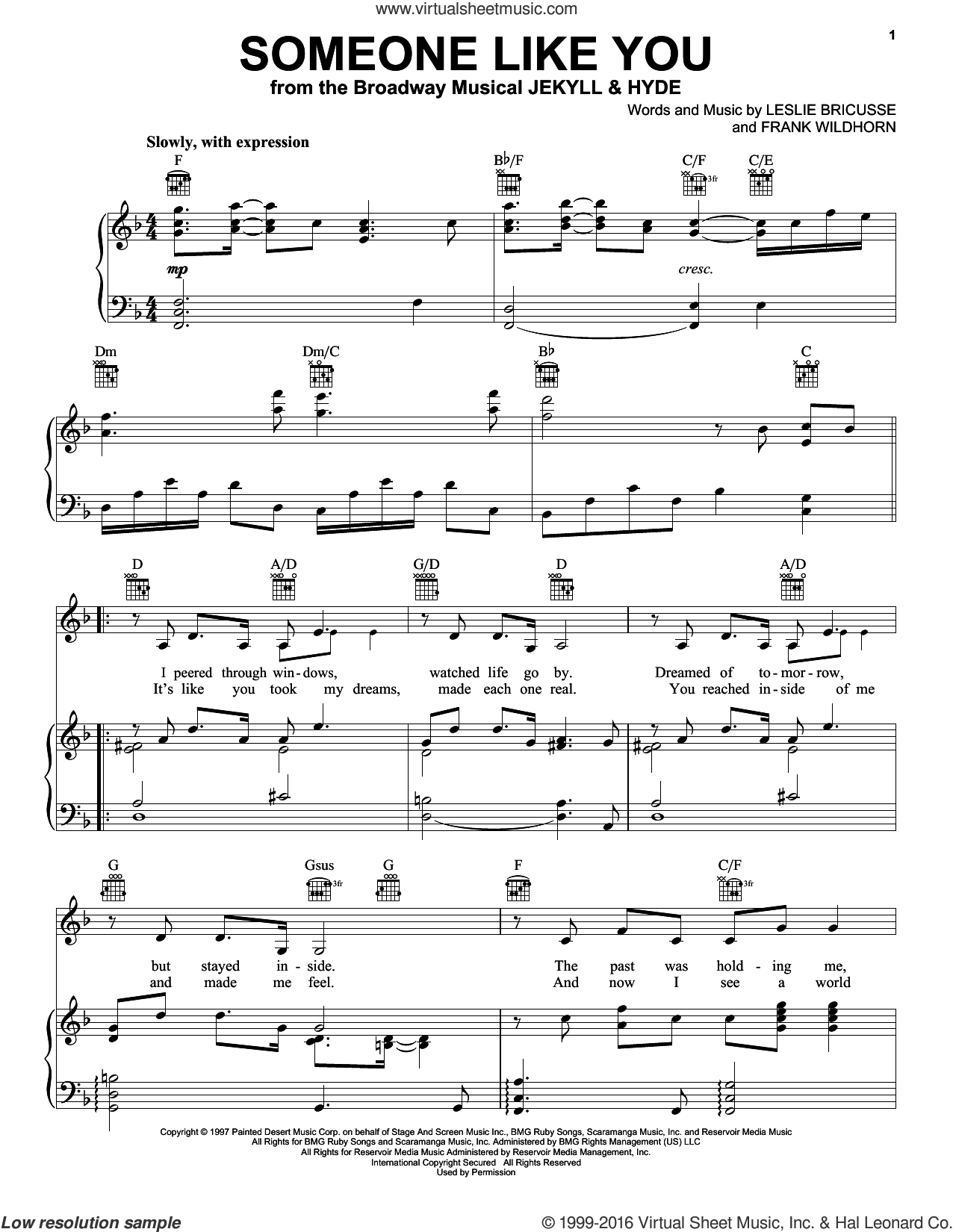 Someone Like You sheet music for voice, piano or guitar by Leslie Bricusse, Jekyll & Hyde (Musical) and Frank Wildhorn, wedding score, intermediate skill level