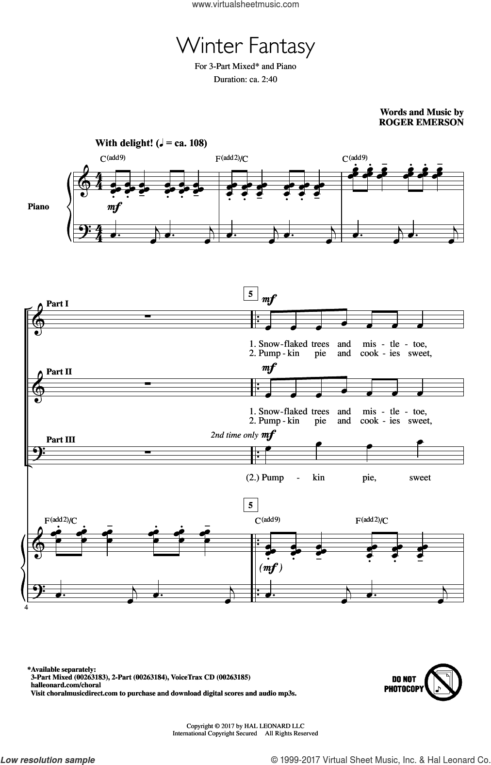 Winter Fantasy sheet music for choir (3-Part Mixed) by Roger Emerson, intermediate skill level