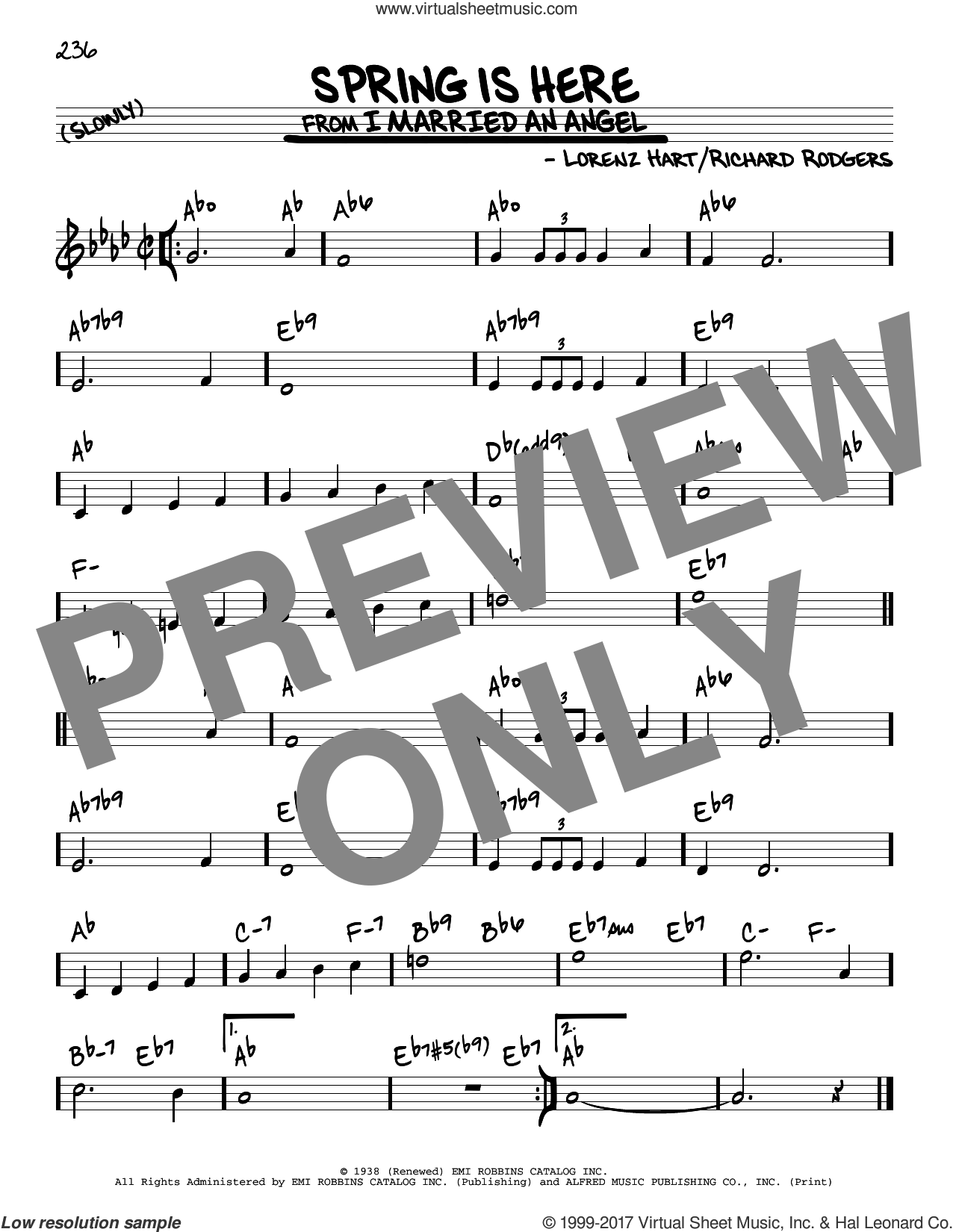Spring Is Here sheet music for voice and other instruments (real book) by Rodgers & Hart, Lorenz Hart and Richard Rodgers, intermediate skill level
