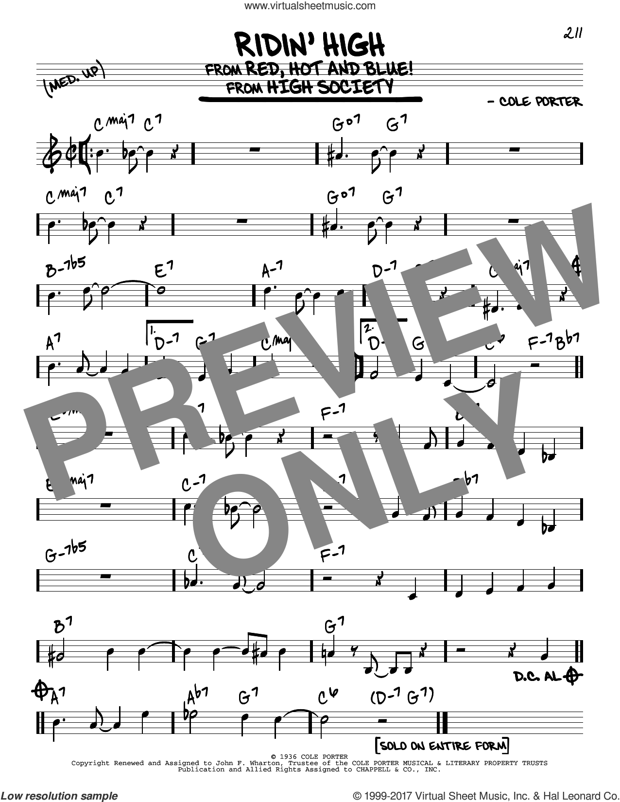 Ridin' High sheet music for voice and other instruments (real book) by Cole Porter, intermediate skill level