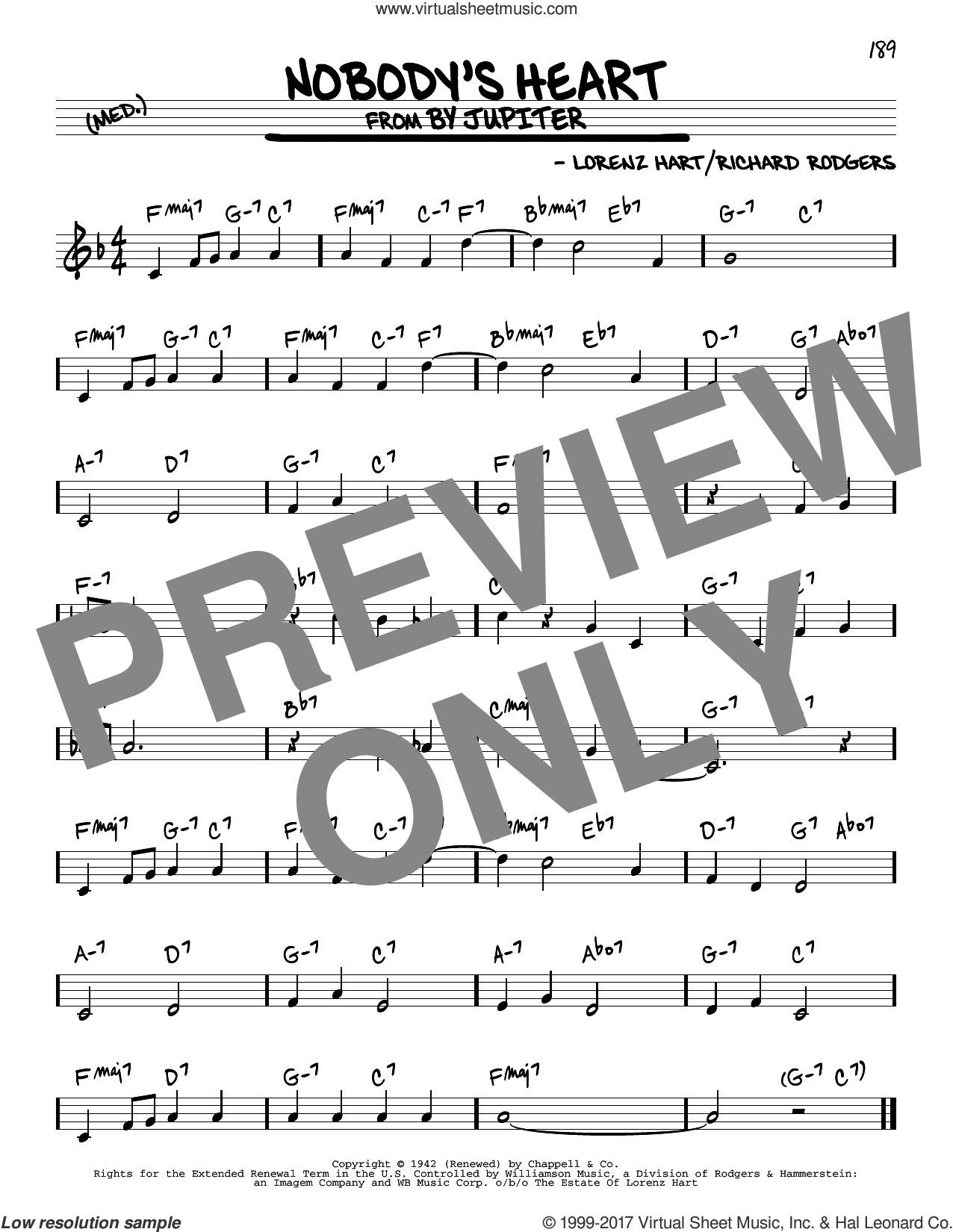 Nobody's Heart sheet music for voice and other instruments (real book) by Rodgers & Hart, Lorenz Hart and Richard Rodgers, intermediate skill level