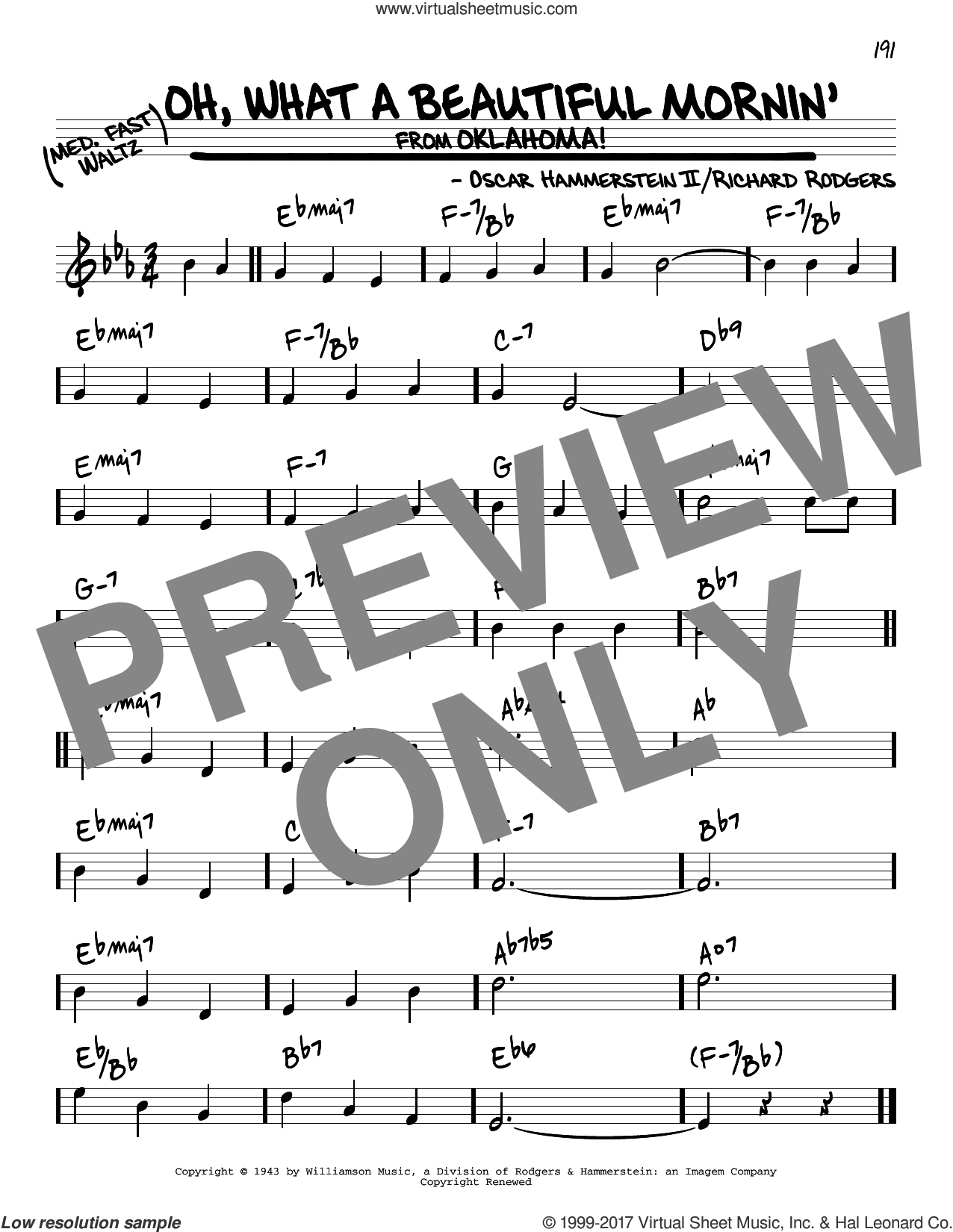 Oh, What A Beautiful Mornin' (from Oklahoma!) sheet music for voice and other instruments (real book) by Rodgers & Hammerstein, Oscar II Hammerstein and Richard Rodgers, intermediate skill level