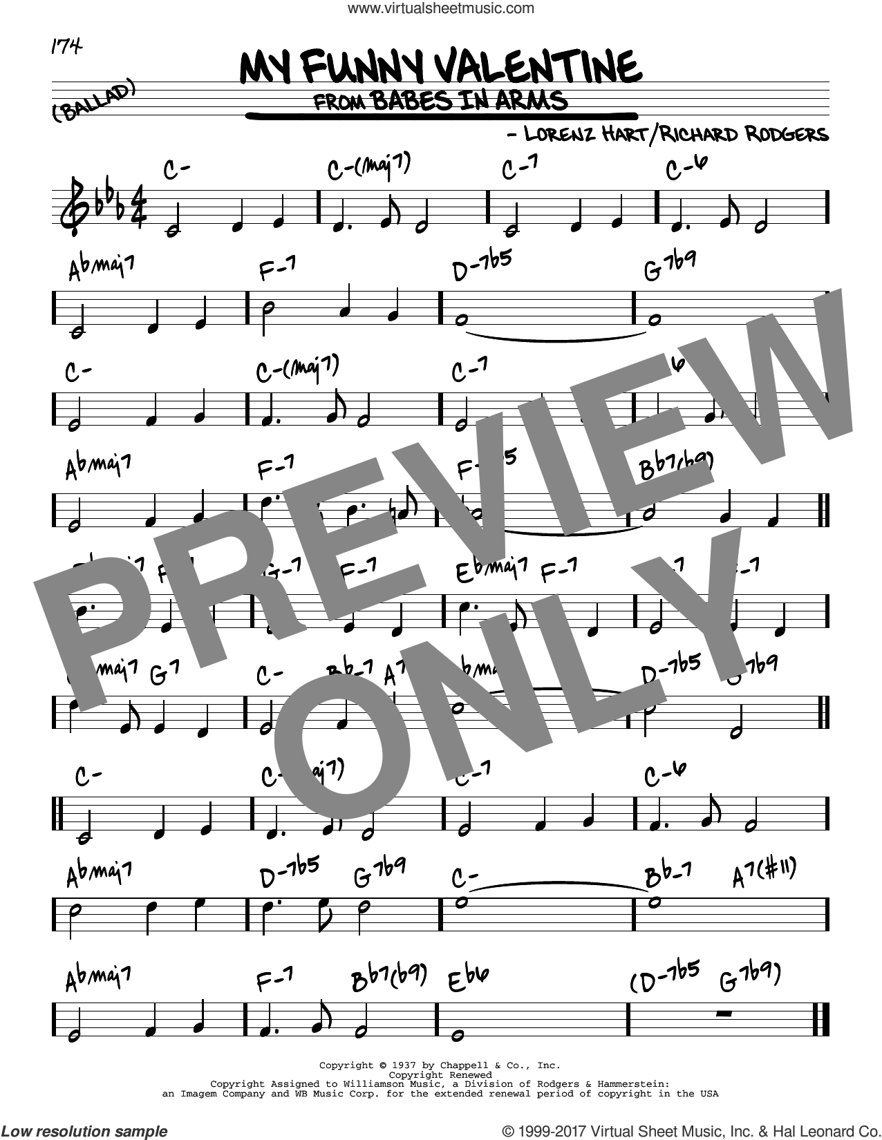 My Funny Valentine sheet music for voice and other instruments (real book) by Rodgers & Hart, Lorenz Hart and Richard Rodgers, intermediate skill level