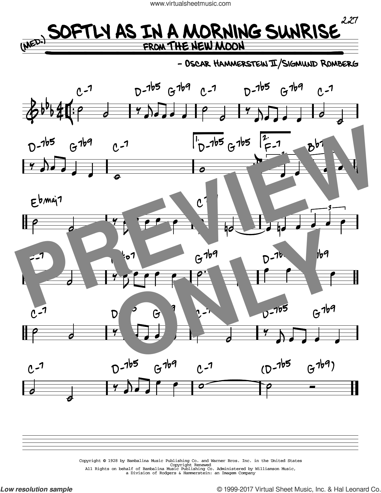 Softly As In A Morning Sunrise sheet music for voice and other instruments (real book) by Oscar II Hammerstein and Sigmund Romberg, intermediate skill level