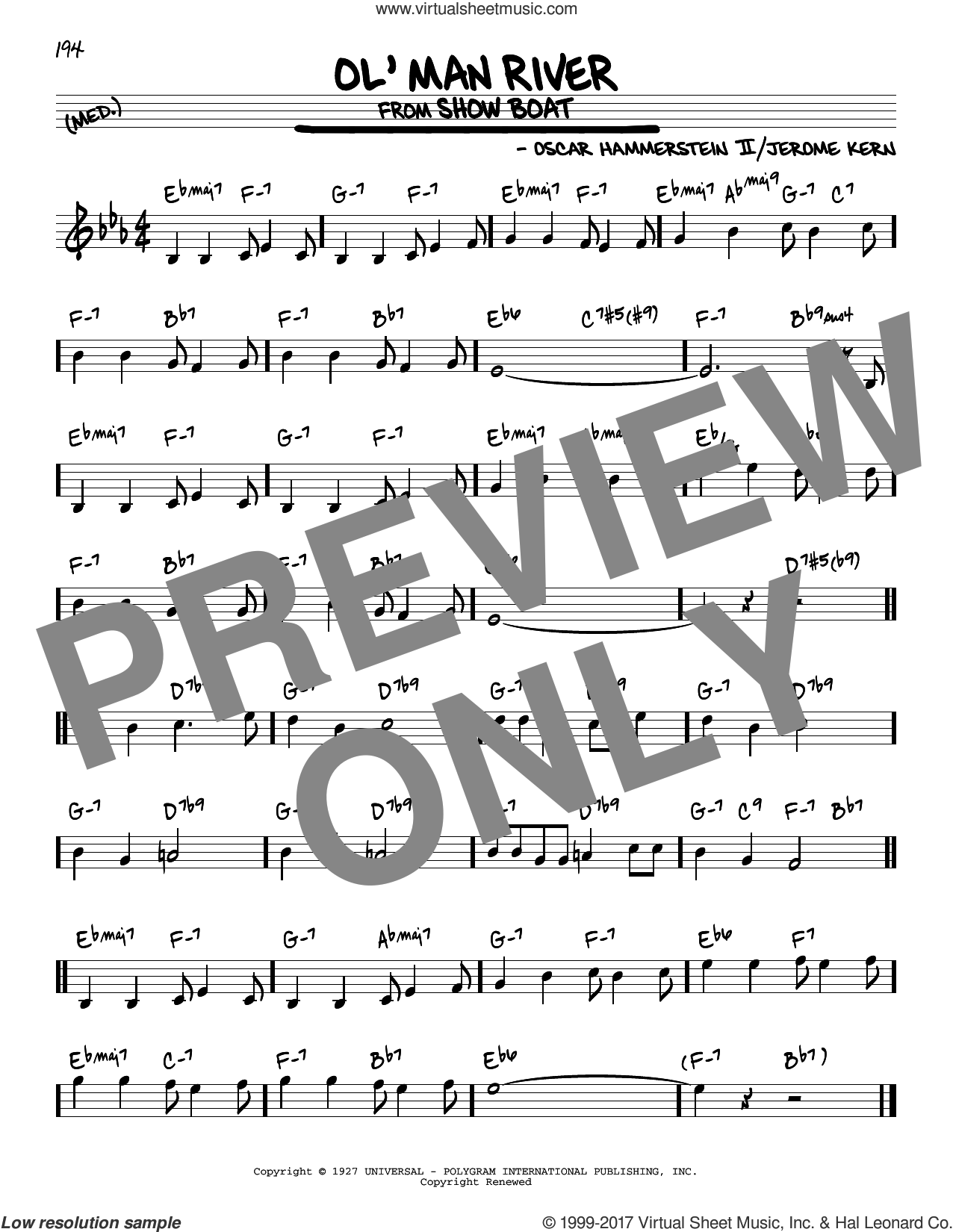 Ol' Man River sheet music for voice and other instruments (real book) by Oscar II Hammerstein and Jerome Kern, intermediate skill level