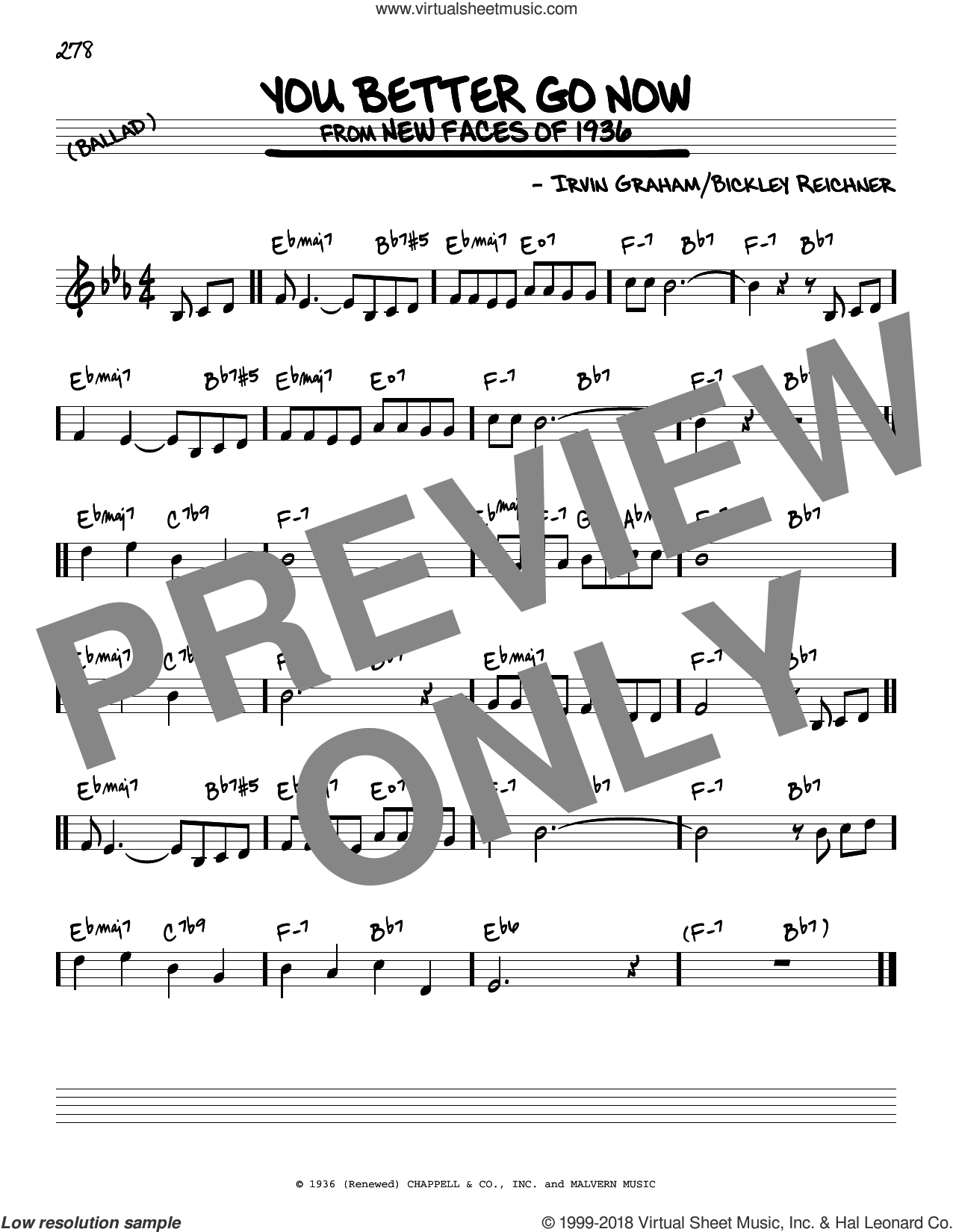 You Better Go Now sheet music for voice and other instruments (real book) by Bickley Reichner and Irvin Graham, intermediate skill level
