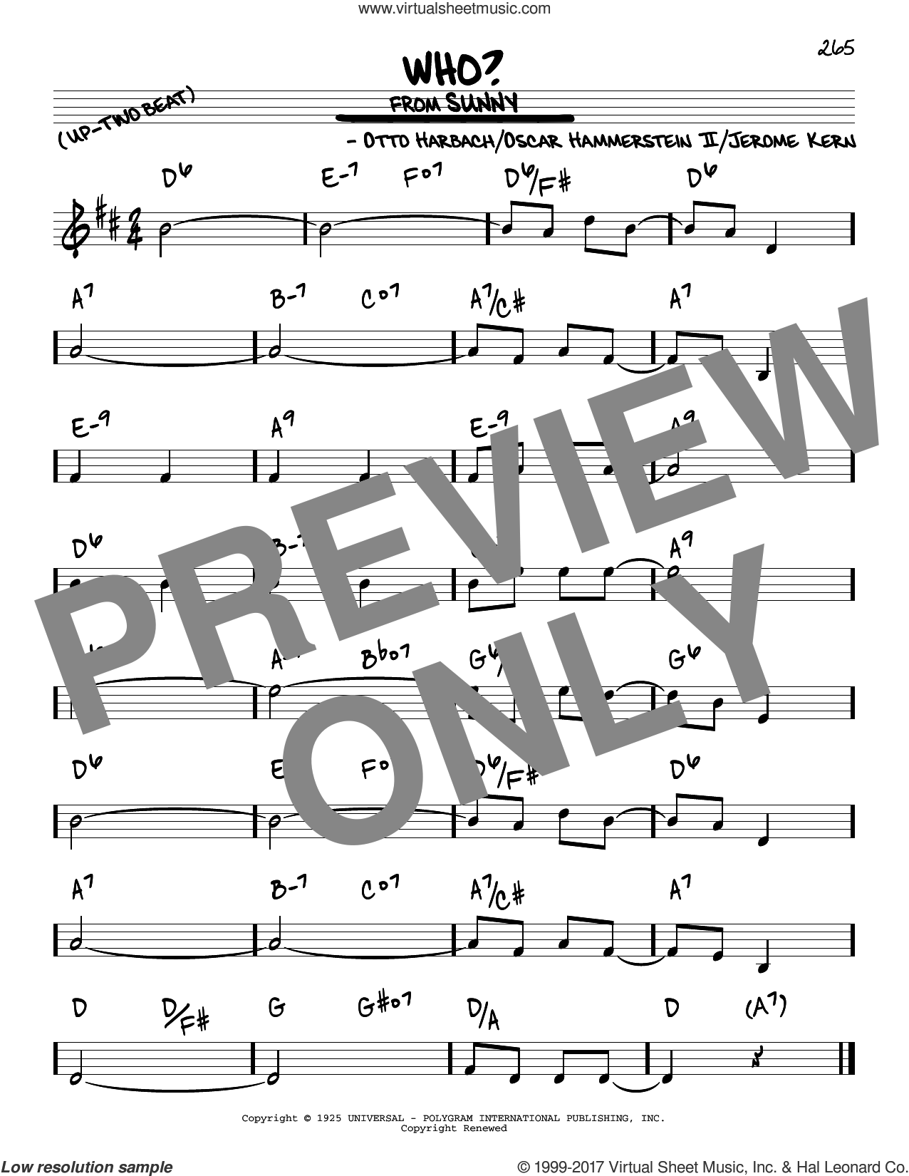 Who? sheet music for voice and other instruments (real book) by Oscar II Hammerstein, Jerome Kern and Otto Harbach, intermediate skill level