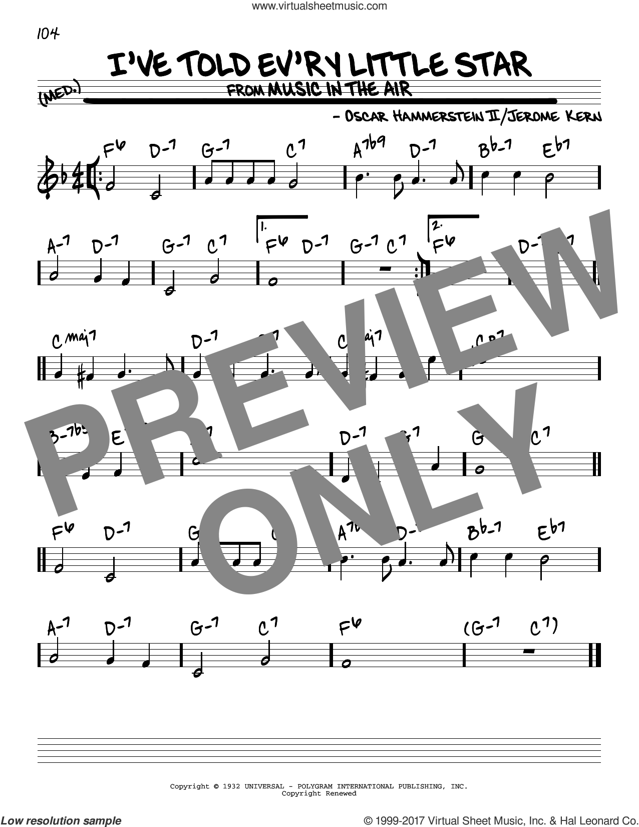 I've Told Ev'ry Little Star sheet music for voice and other instruments (real book) by Oscar II Hammerstein, Linda Scott and Jerome Kern, intermediate skill level