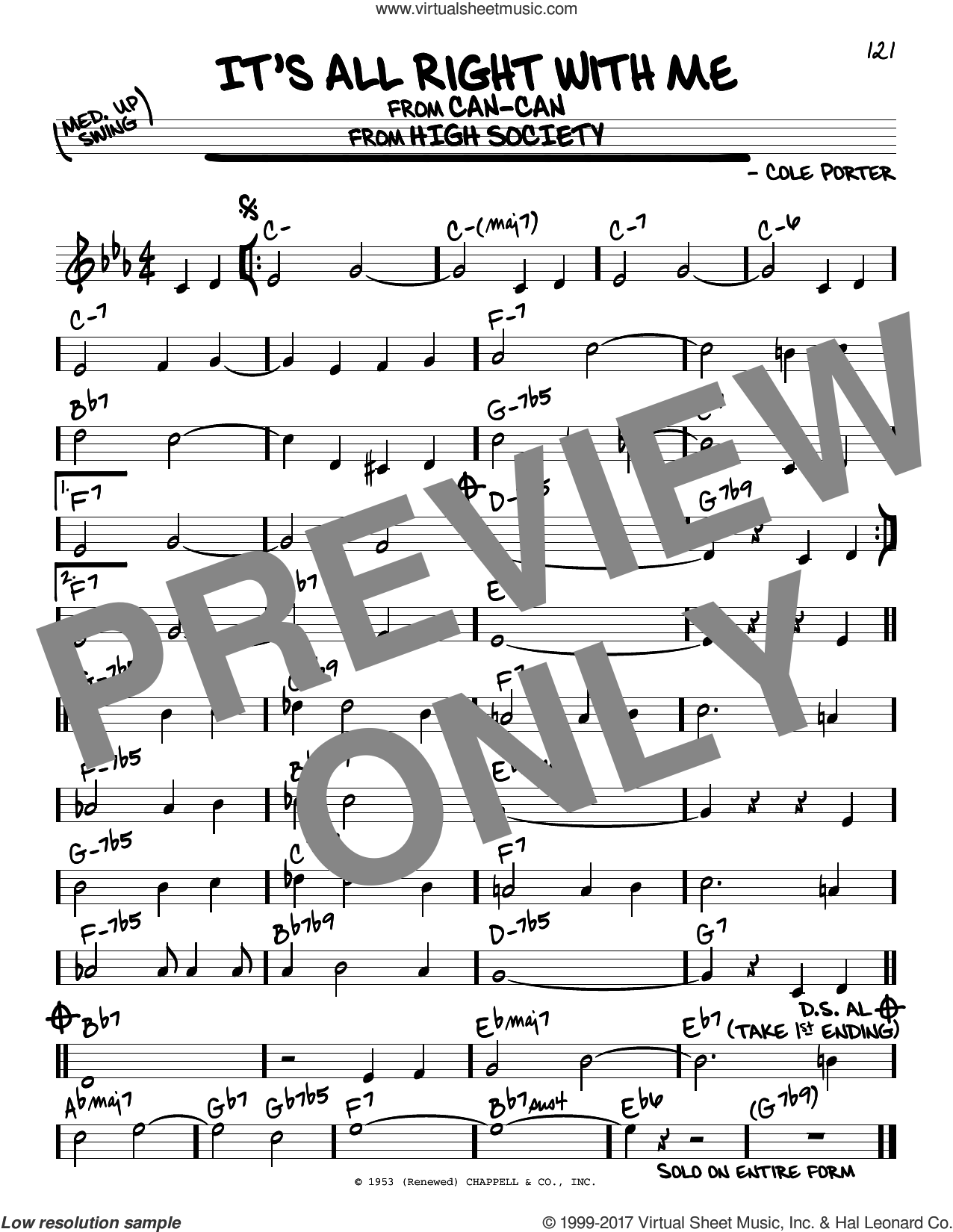It's All Right With Me sheet music for voice and other instruments (real book) by Cole Porter, intermediate skill level