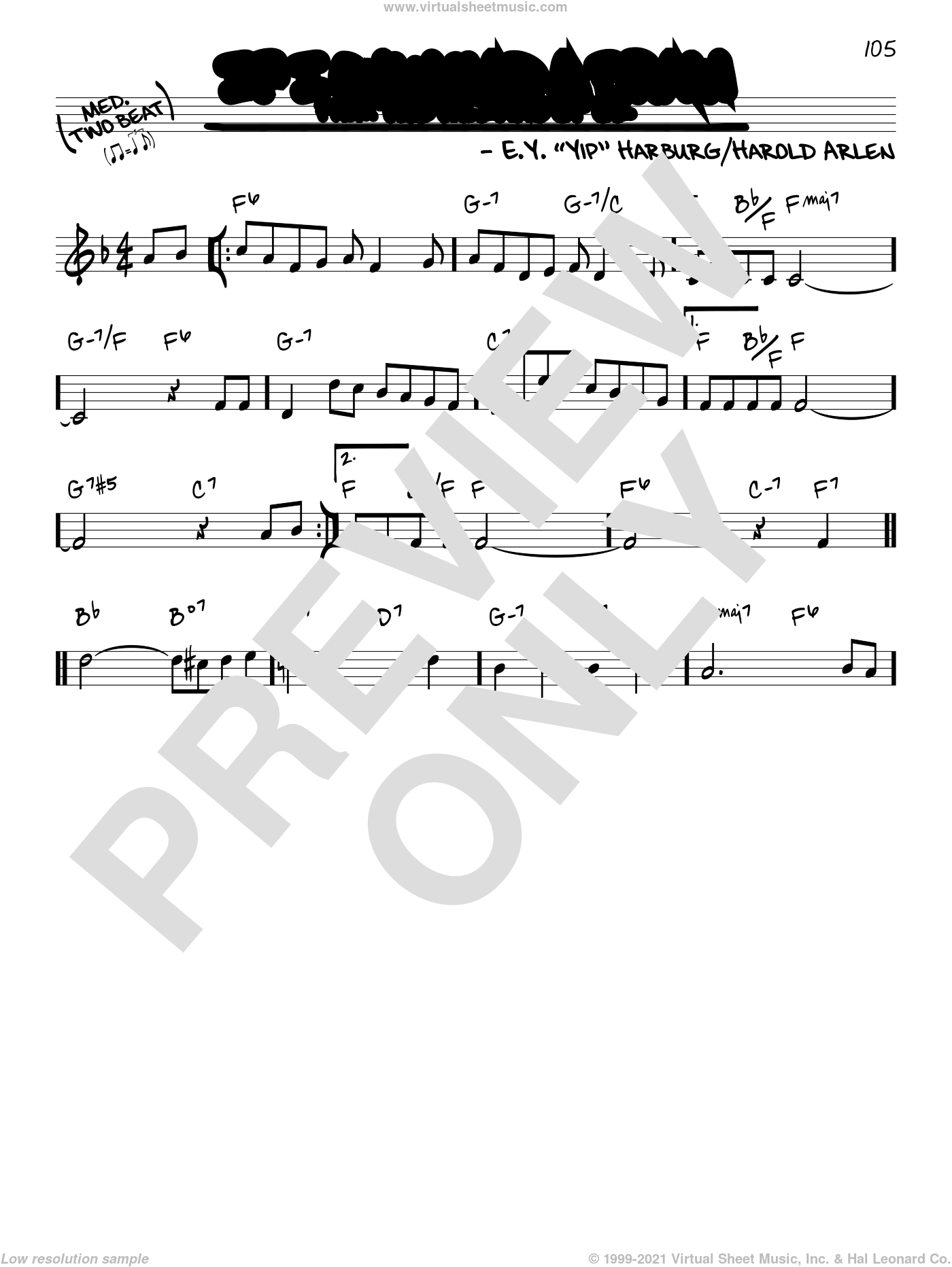 If I Only Had A Brain sheet music for voice and other instruments (real book) by Harold Arlen and E.Y. Harburg, intermediate skill level