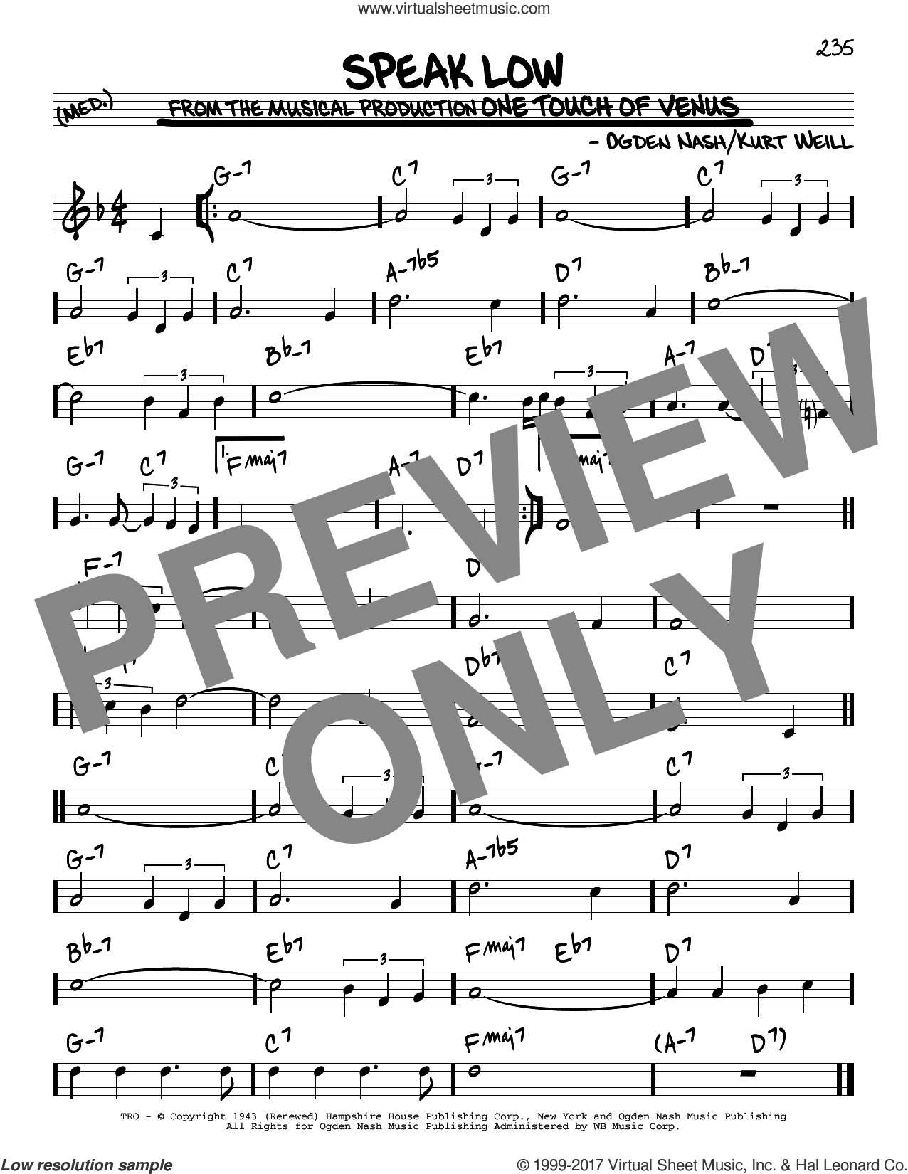 Speak Low sheet music for voice and other instruments (real book) by Kurt Weill and Ogden Nash, intermediate skill level