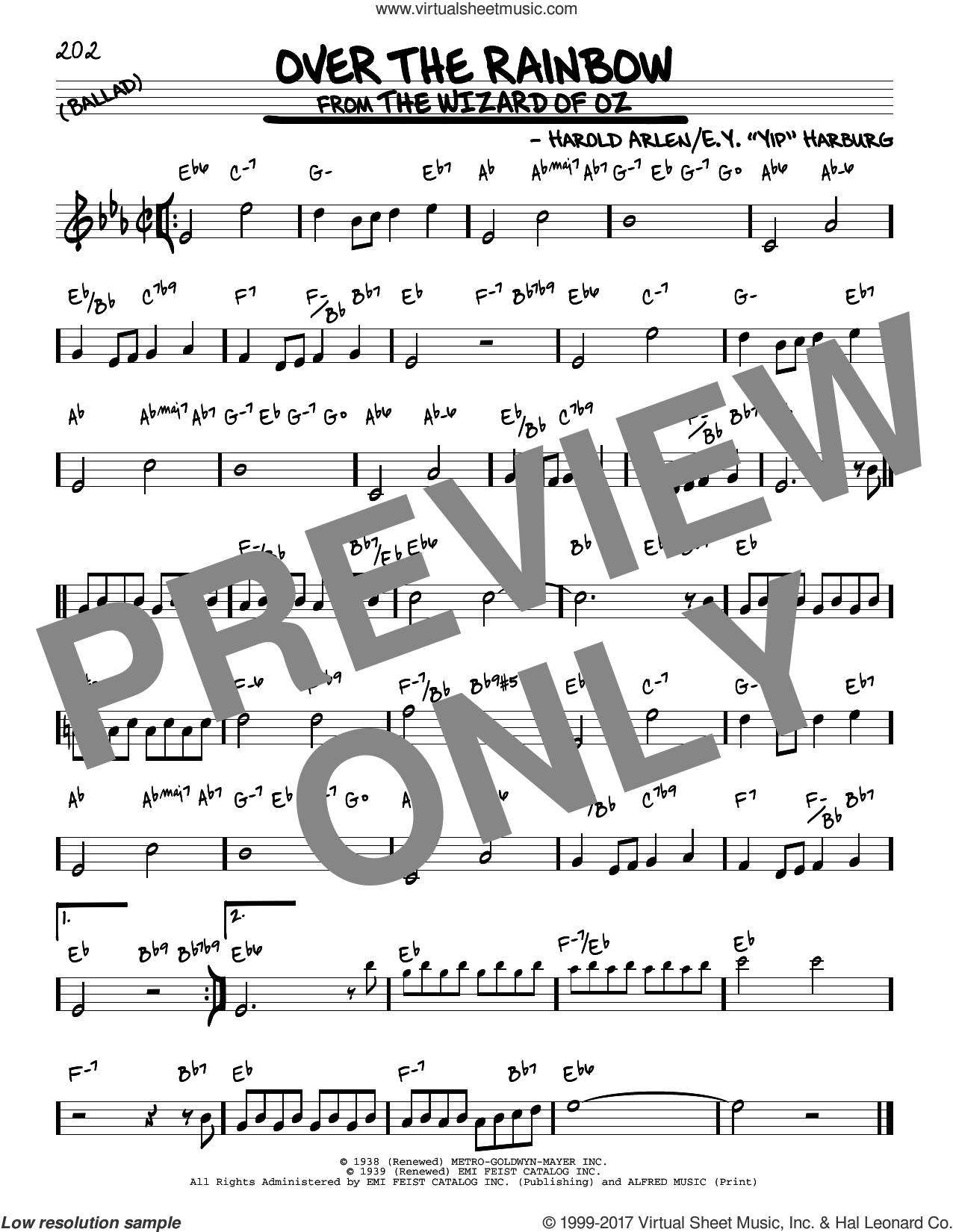 Over The Rainbow sheet music for voice and other instruments (real book) by Harold Arlen and E.Y. Harburg, intermediate skill level