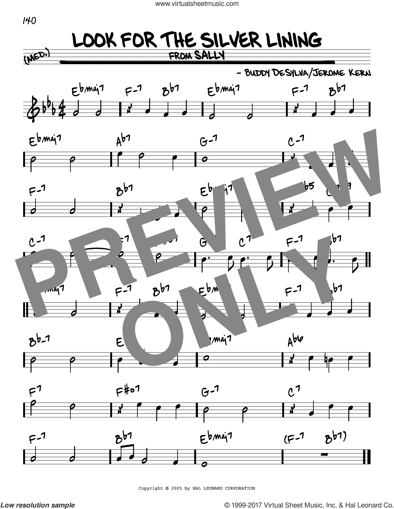 Look For The Silver Lining sheet music for voice and other instruments (real book) by Jerome Kern and Buddy DeSylva, intermediate skill level