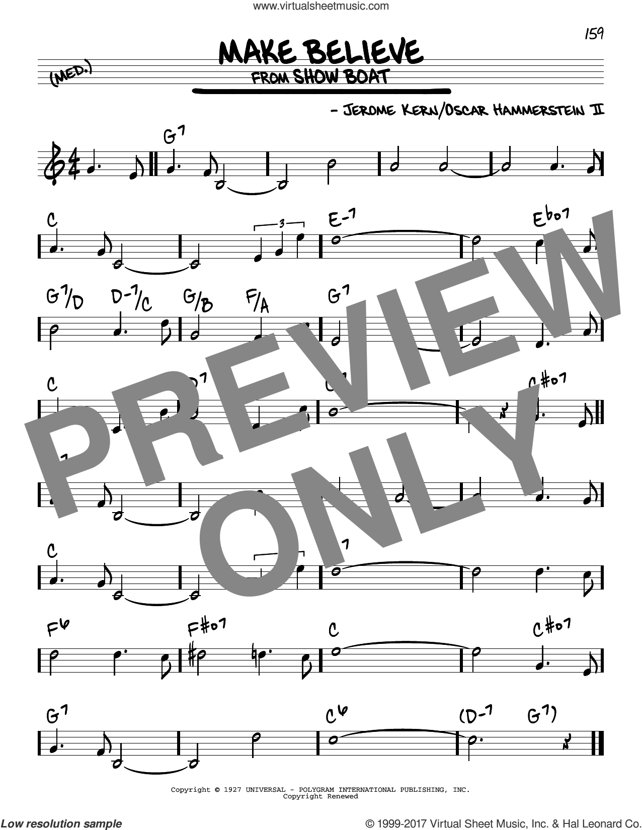 Make Believe sheet music for voice and other instruments (real book) by Oscar II Hammerstein and Jerome Kern, intermediate skill level