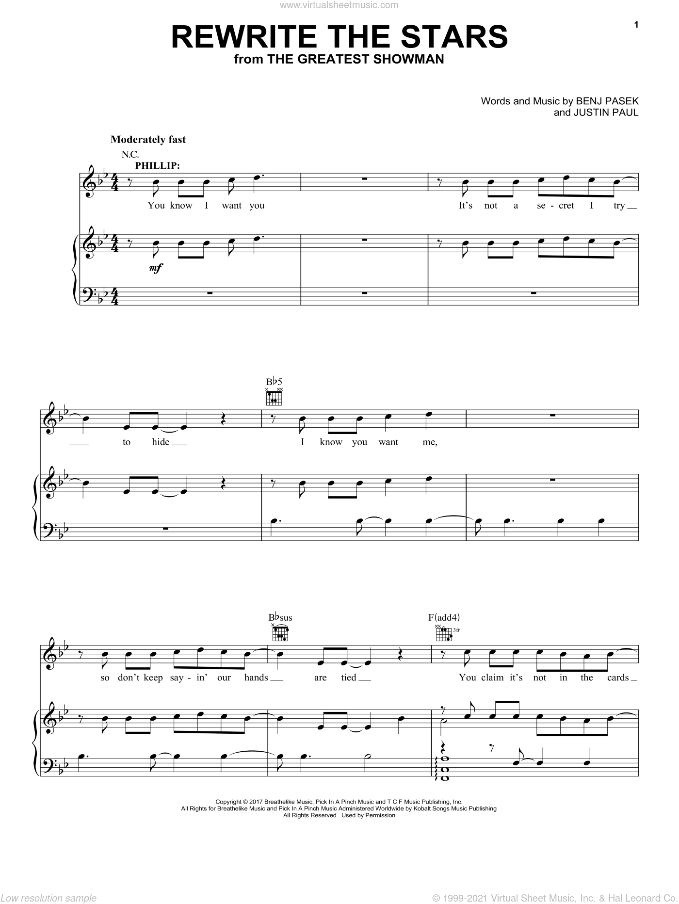 Rewrite The Stars sheet music for voice, piano or guitar by Pasek & Paul, Benj Pasek and Justin Paul, intermediate skill level