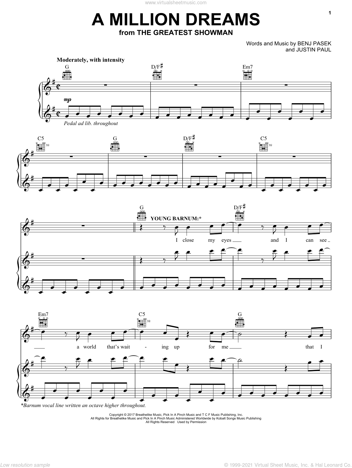 A Million Dreams (From The Greatest Showman) sheet music for voice, piano or guitar by Pasek & Paul, Benj Pasek and Justin Paul, intermediate skill level