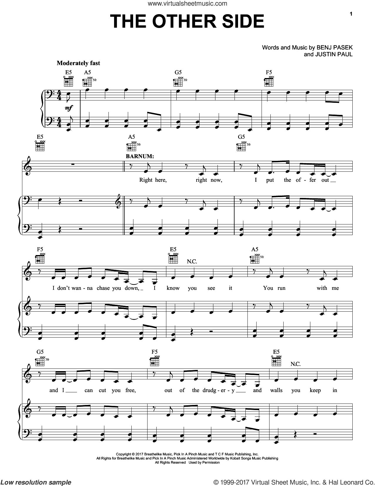 The Other Side sheet music for voice, piano or guitar by Pasek & Paul, Benj Pasek and Justin Paul, intermediate skill level