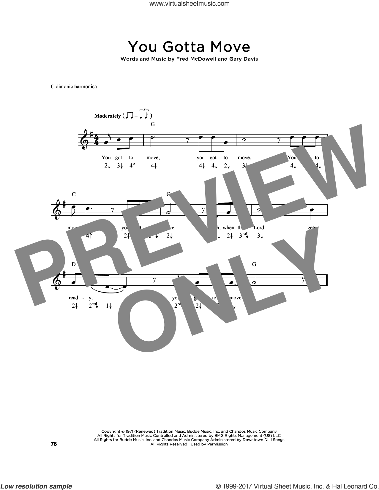 You Gotta Move sheet music for harmonica solo by Fred McDowell and Gary Davis, intermediate skill level