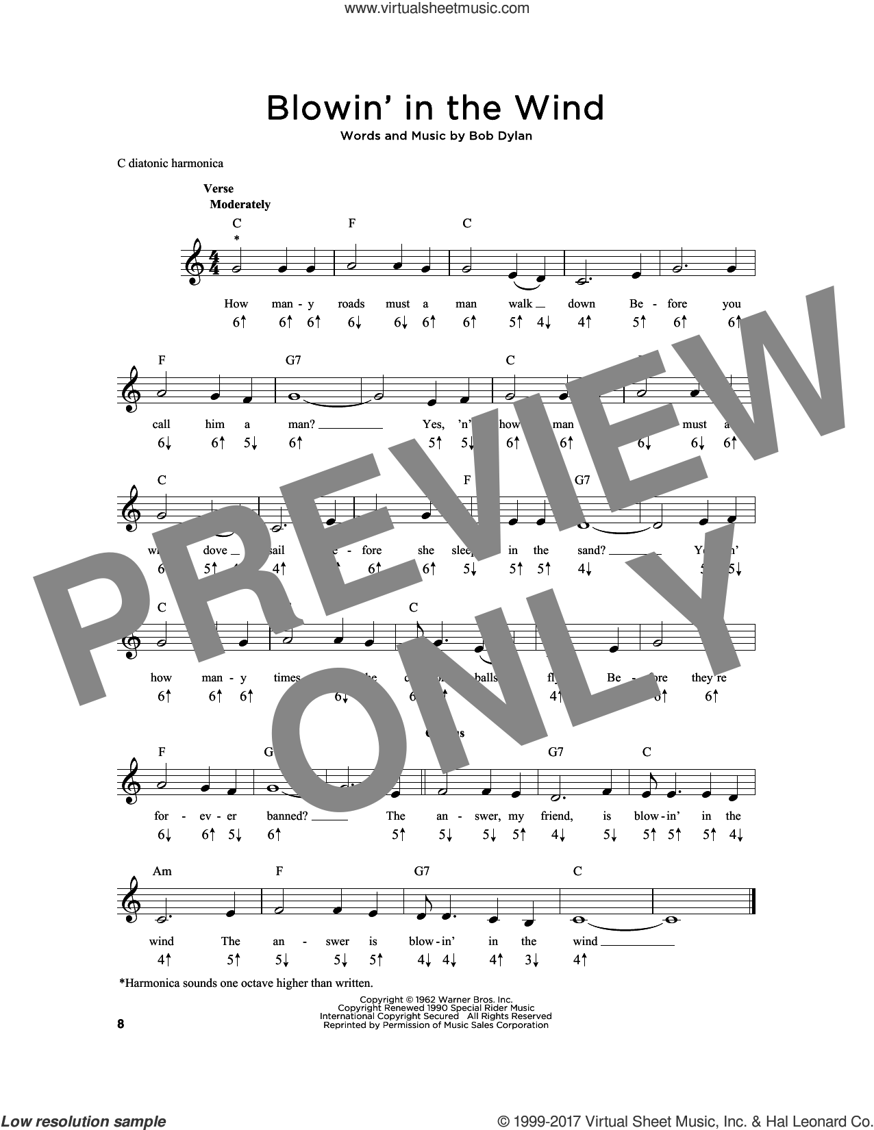 Blowin' In The Wind sheet music for harmonica solo by Bob Dylan, intermediate skill level