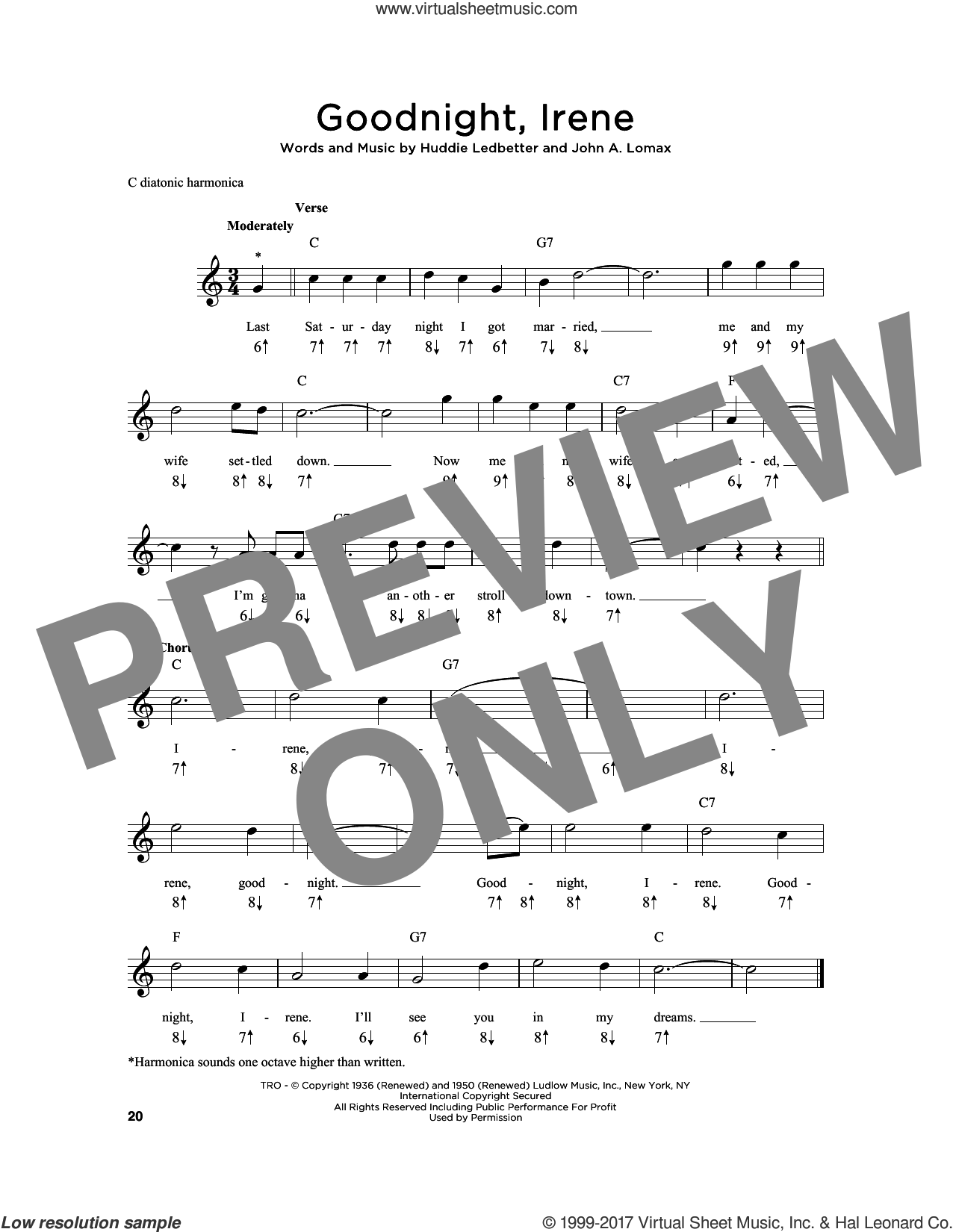 Goodnight, Irene sheet music for harmonica solo by John A. Lomax, Ernest Tubb & Red Foley, Peter, Paul & Mary and Huddie Ledbetter, intermediate skill level