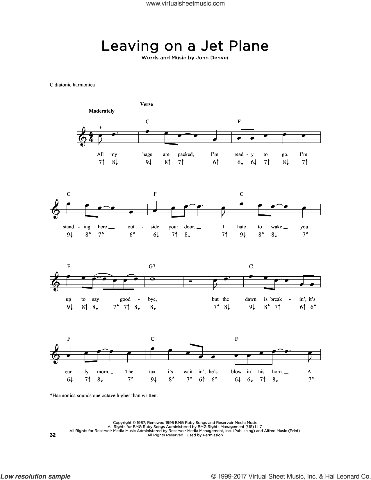 Leaving On A Jet Plane sheet music for harmonica solo by John Denver and Peter, Paul & Mary, intermediate skill level