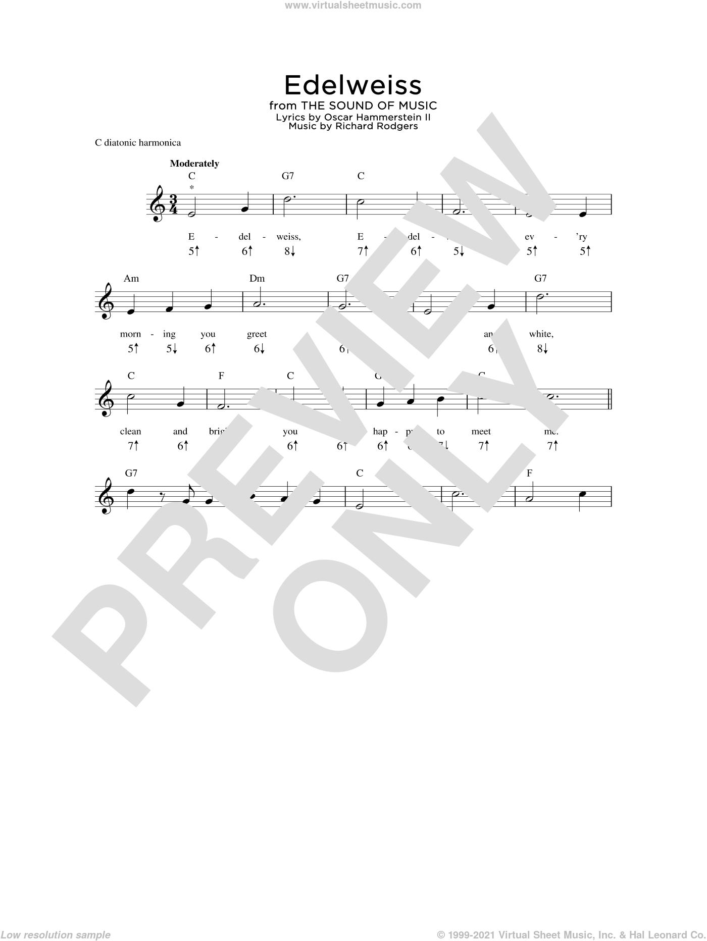 Hammerstein Edelweiss Sheet Music For Harmonica Solo Pdf