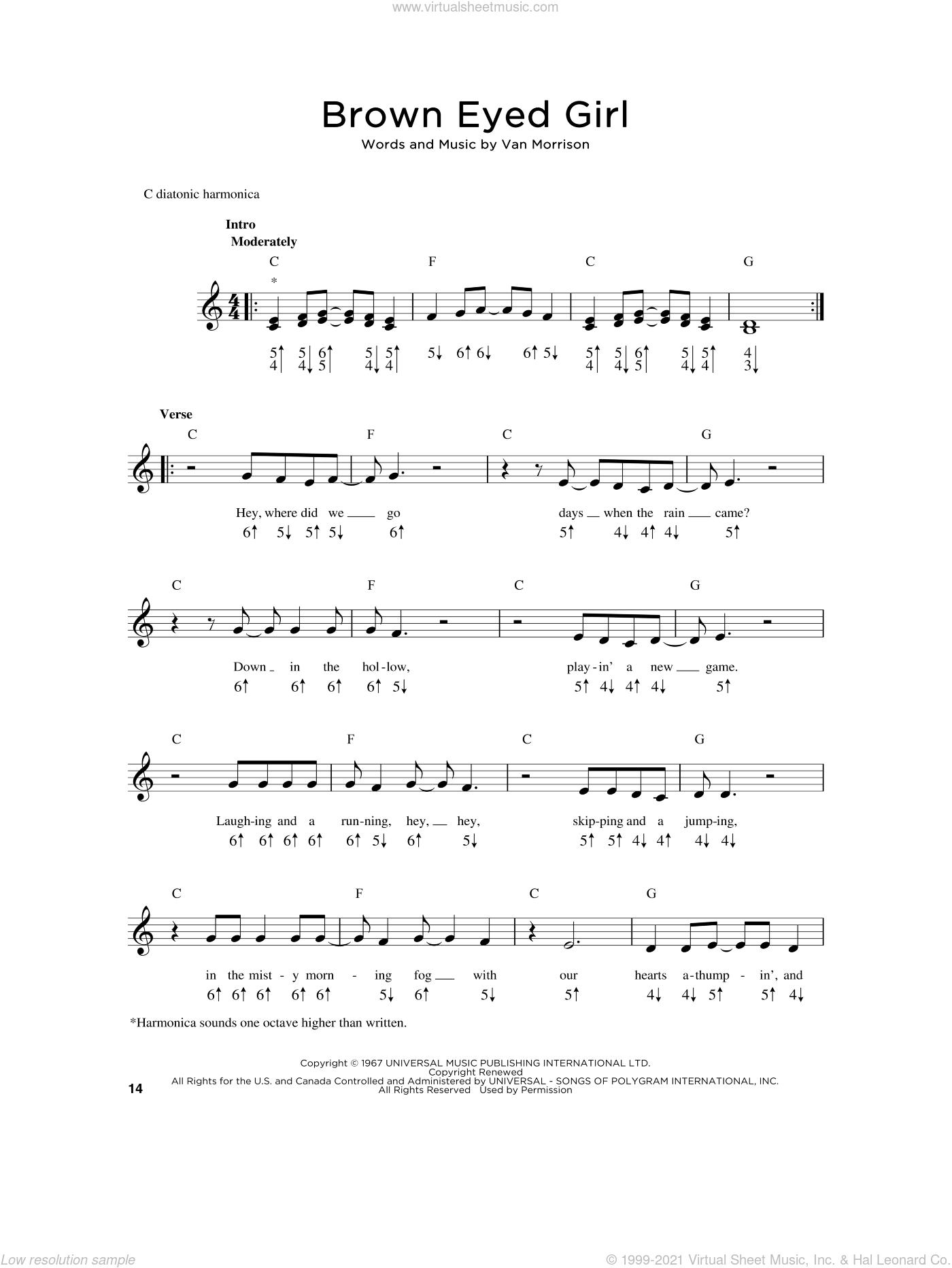 Brown Eyed Girl sheet music for harmonica solo by Van Morrison, intermediate skill level