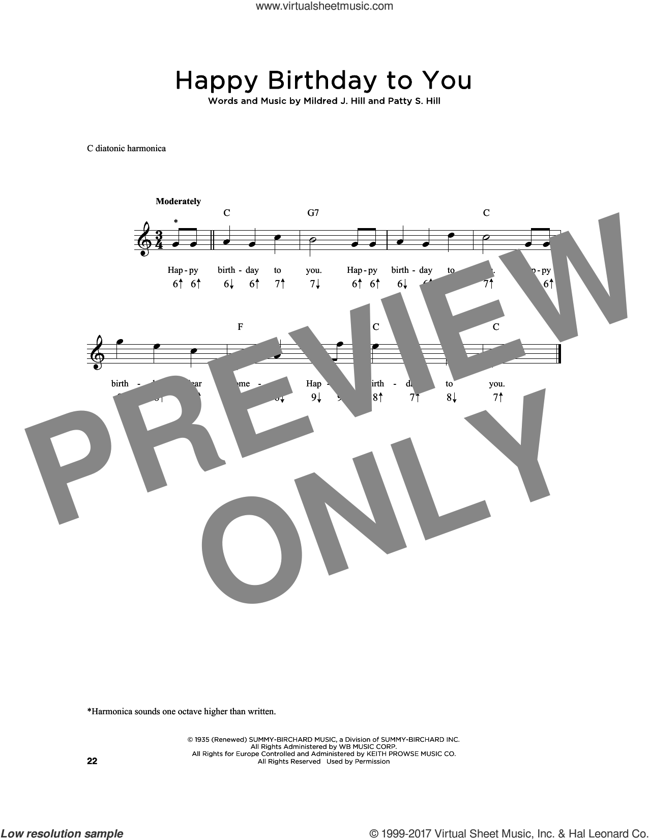 Happy Birthday To You sheet music for harmonica solo by Patty Smith Hill and Mildred J. Hill, intermediate skill level