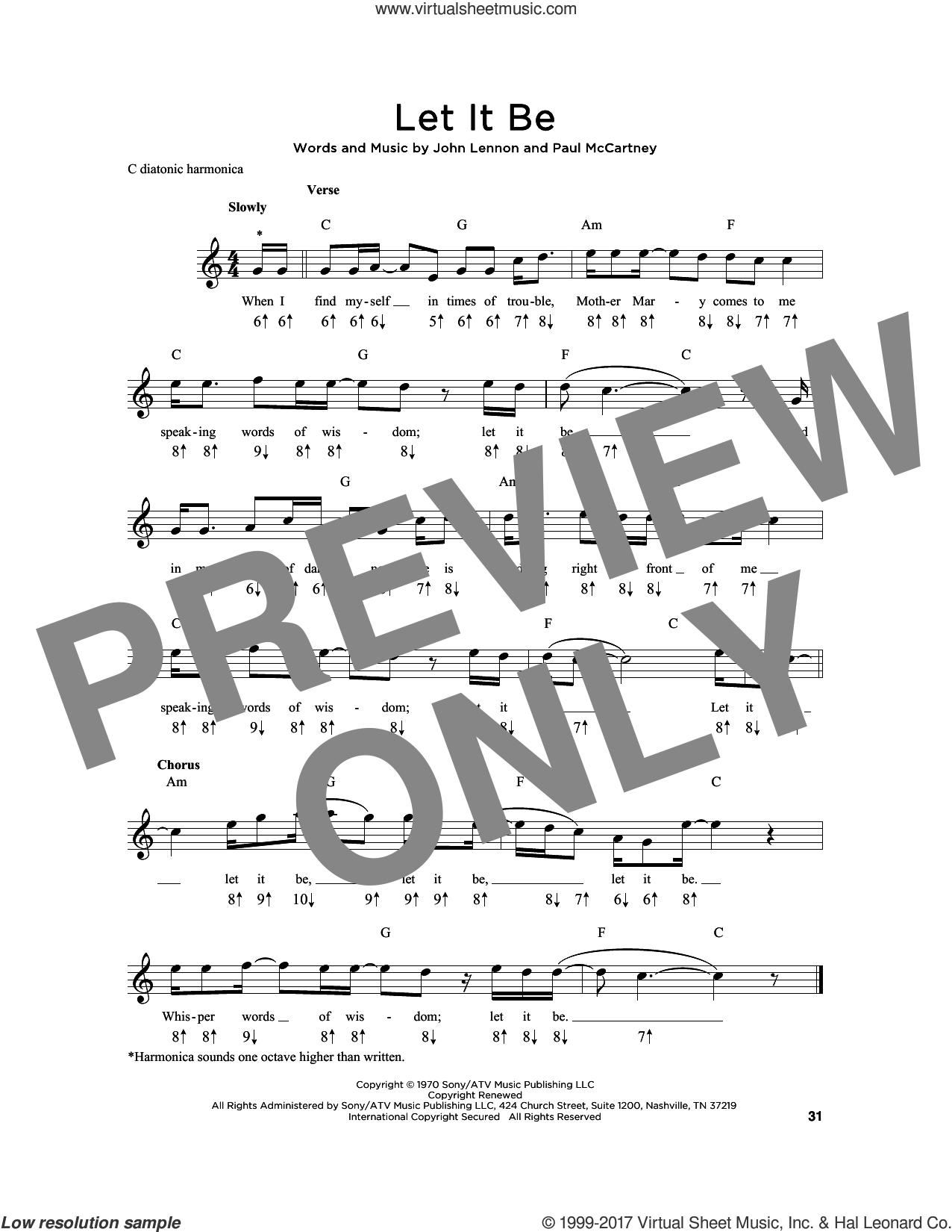 Let It Be sheet music for harmonica solo by The Beatles, John Lennon and Paul McCartney, intermediate skill level