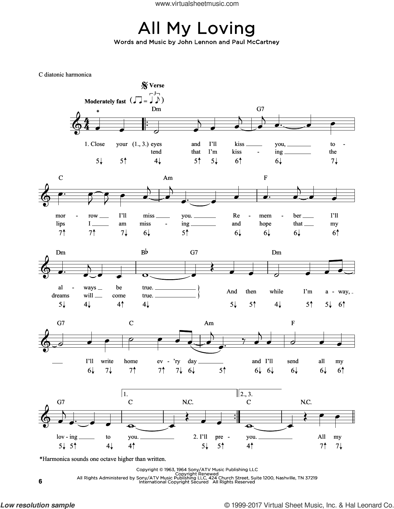 Beatles - All My Loving sheet music for harmonica solo PDF