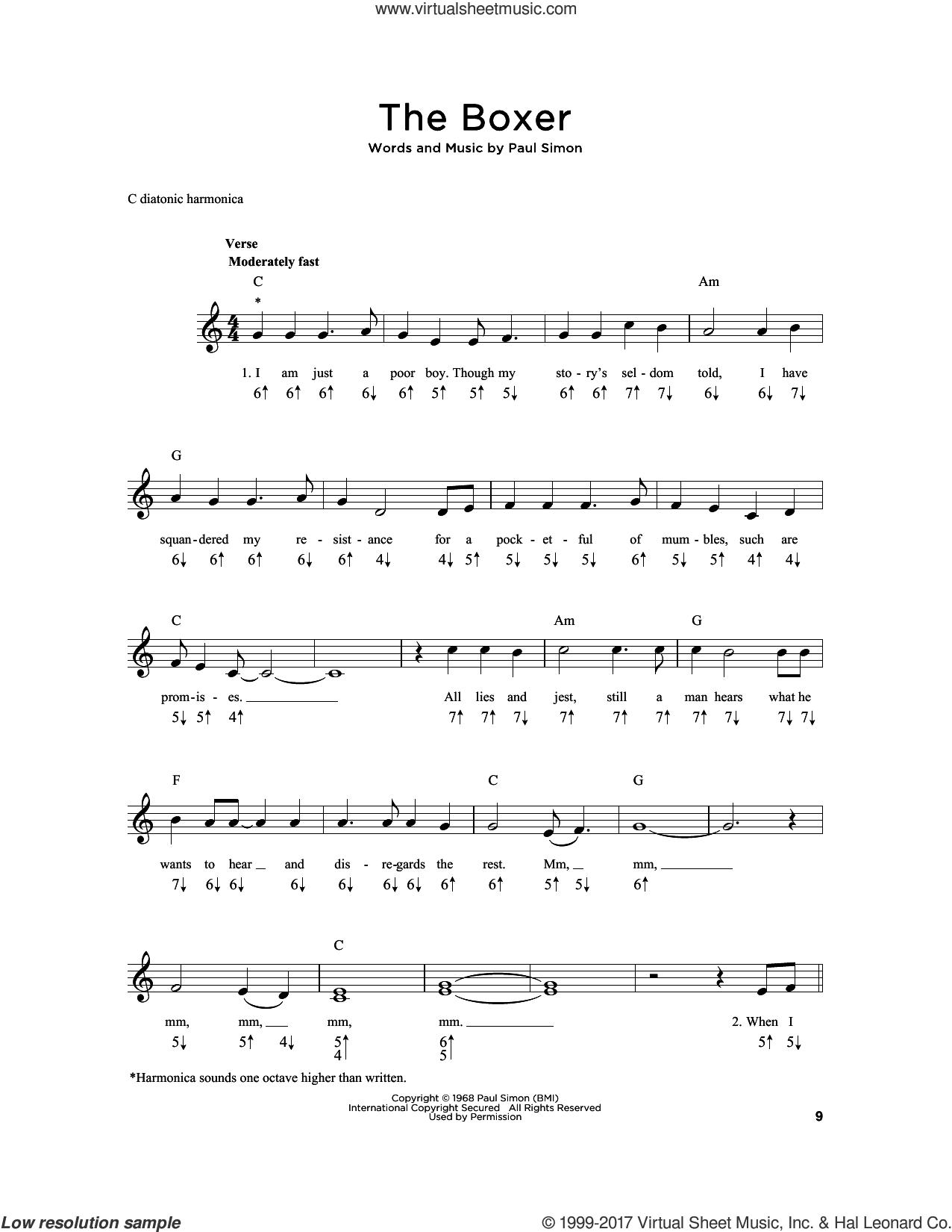The Boxer sheet music for harmonica solo by Simon & Garfunkel and Paul Simon, intermediate skill level