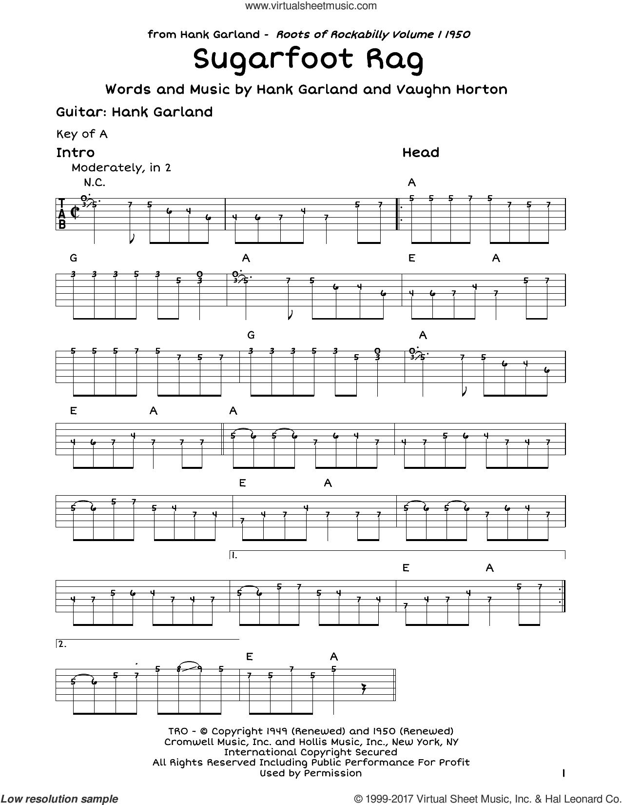 Sugarfoot Rag sheet music for guitar solo (lead sheet) by Red Foley, Hank Garland and Vaughn Horton, intermediate guitar (lead sheet)