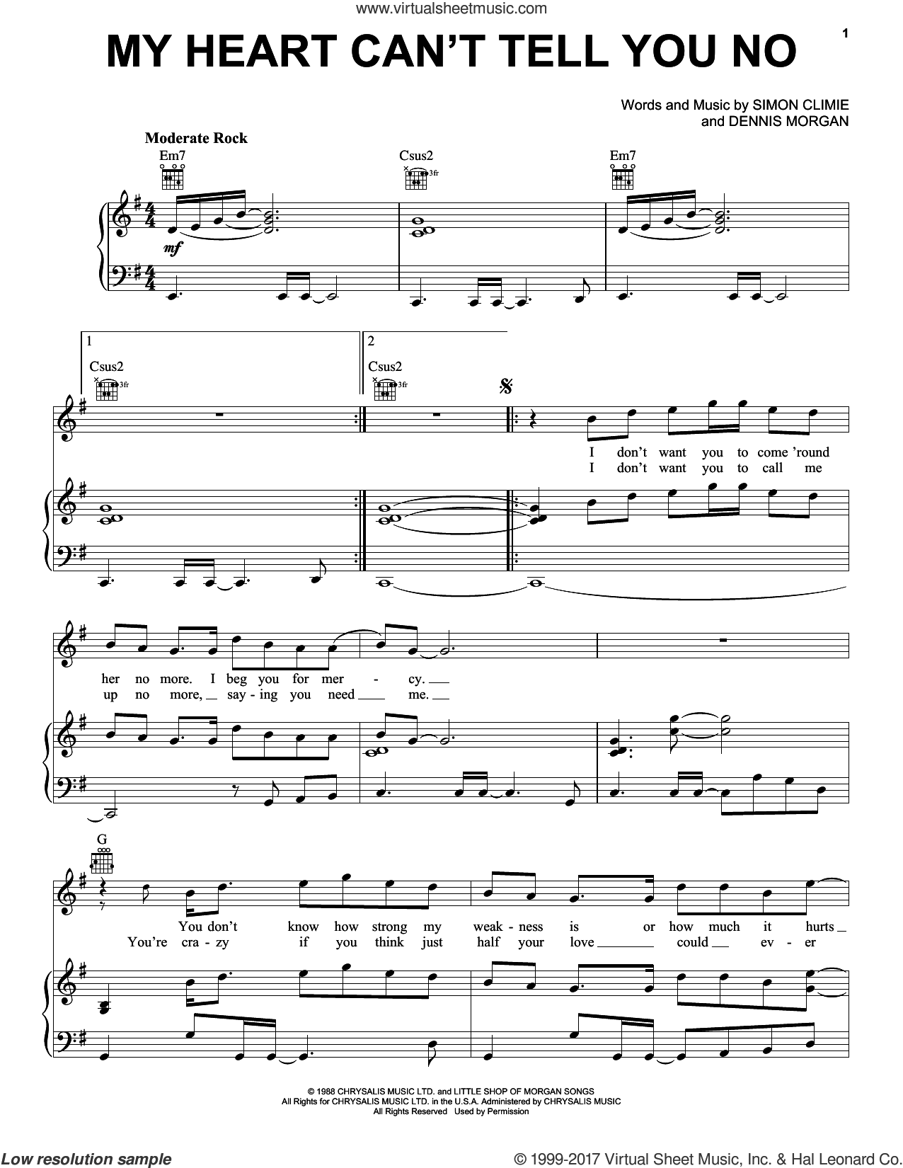 My Heart Can't Tell You No sheet music for voice, piano or guitar by Rod Stewart, Dennis Morgan, Sara Evans and Simon Climie, intermediate skill level