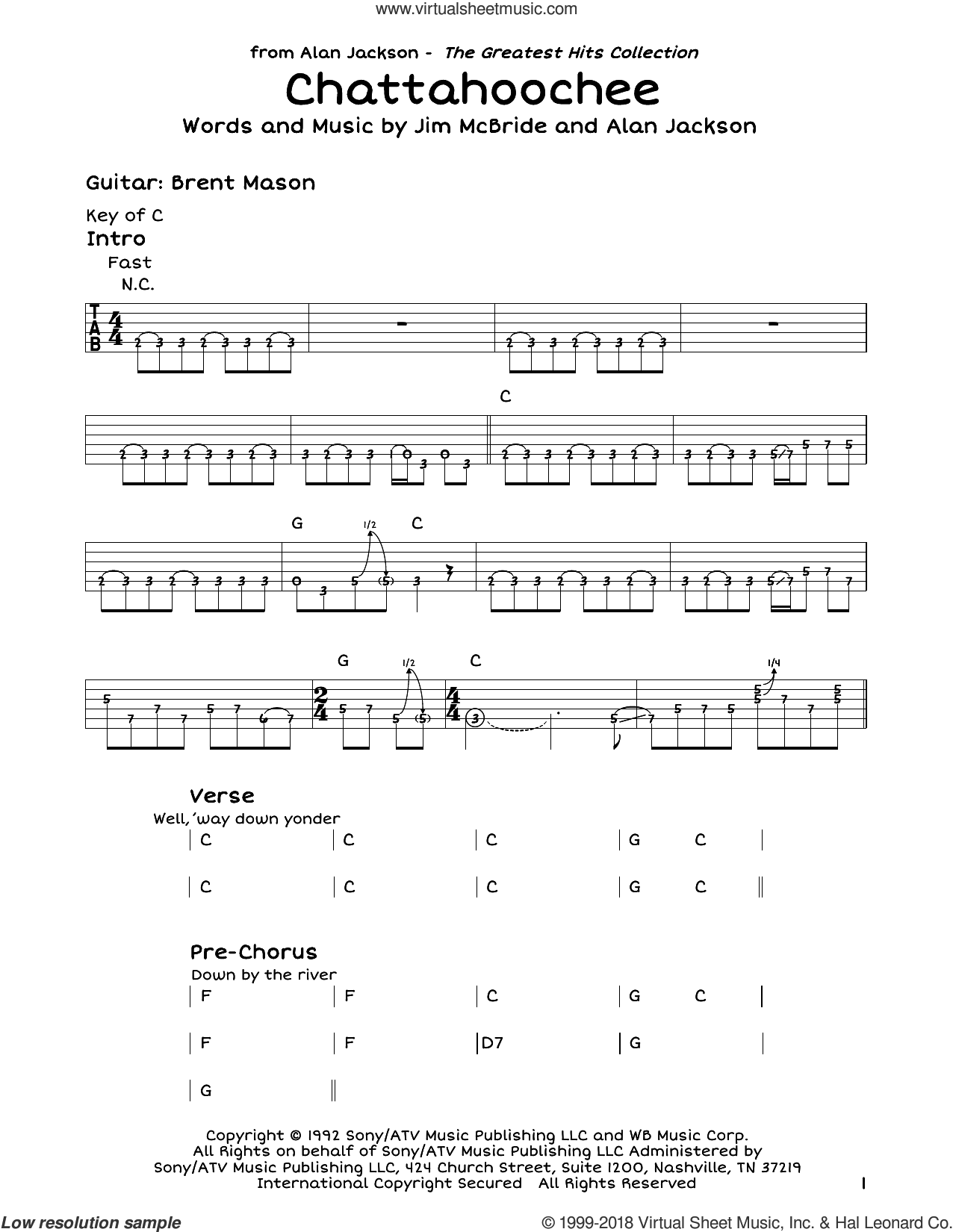 Chattahoochee sheet music for guitar solo (lead sheet) by Alan Jackson and Jim McBride, intermediate guitar (lead sheet)