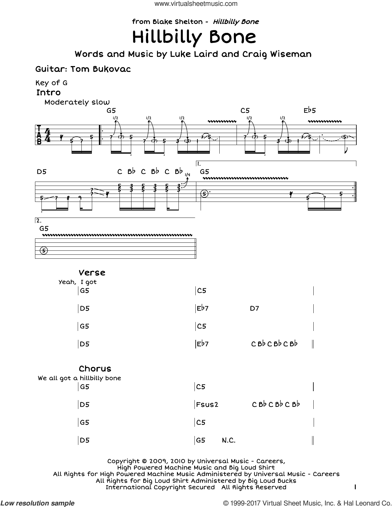 Hillbilly Bone sheet music for guitar solo (lead sheet) by Blake Shelton featuring Trace Adkins, Craig Wiseman and Luke Laird, intermediate guitar (lead sheet)
