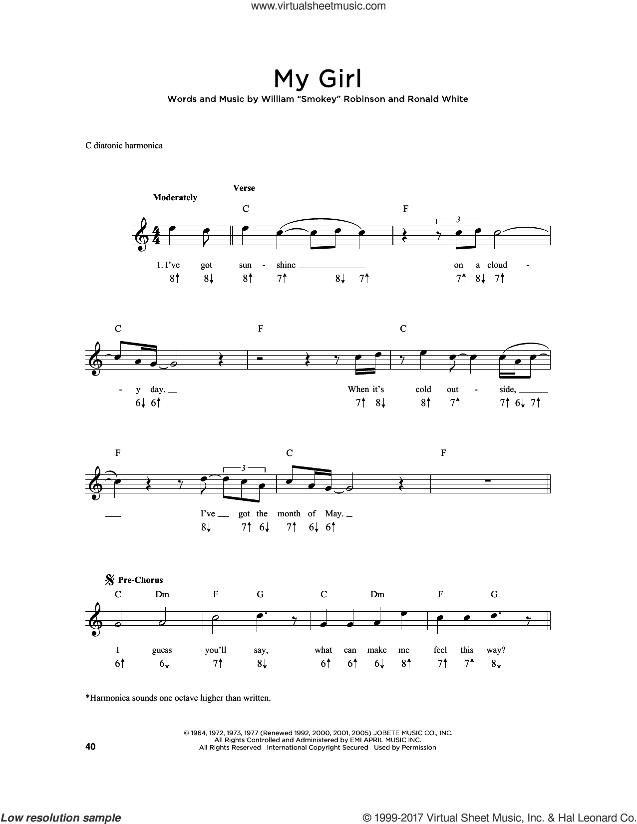 My Girl sheet music for harmonica solo by The Temptations and Ronald White, intermediate skill level