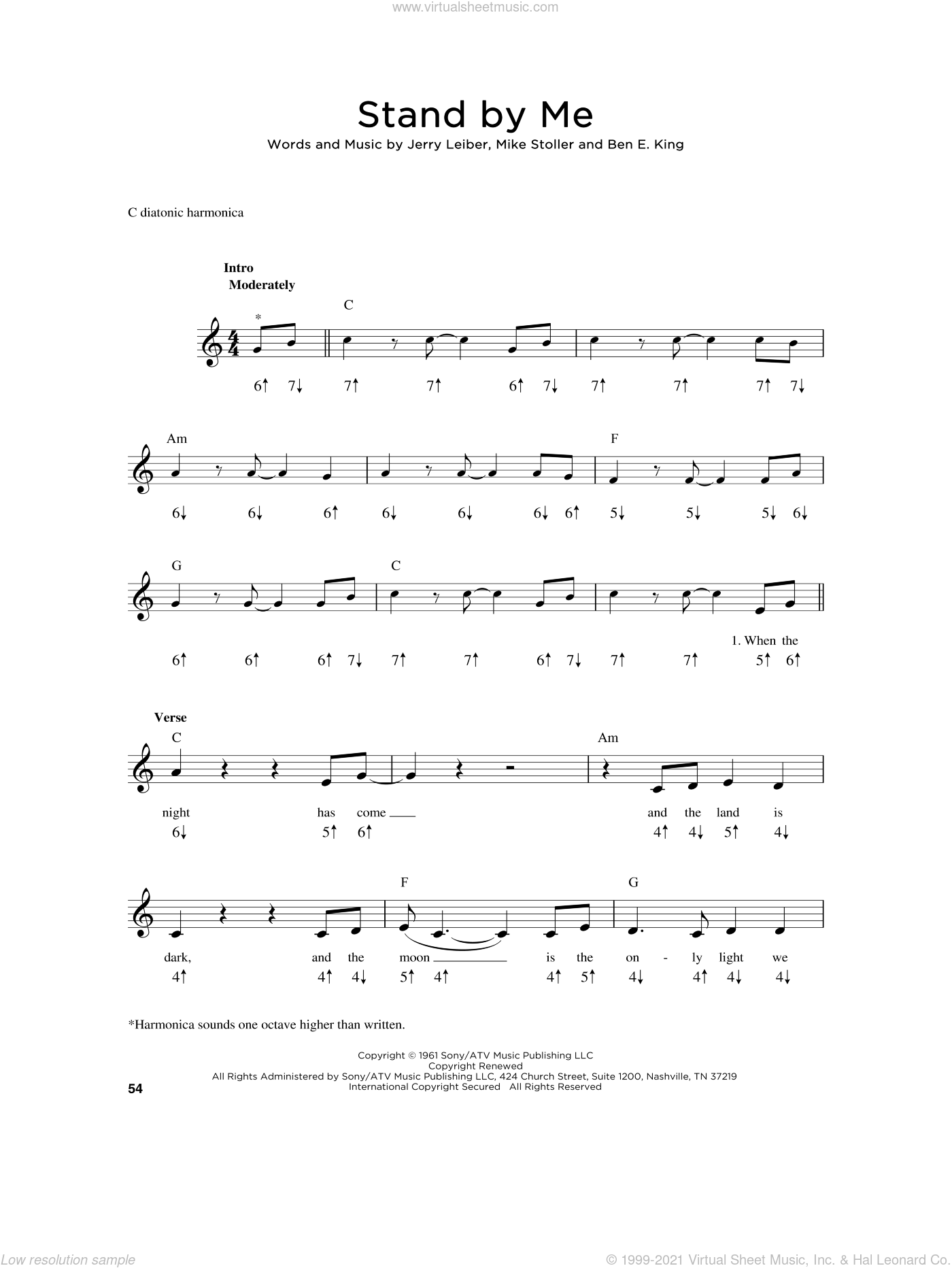 Stand By Me sheet music for harmonica solo by Ben E. King, Mickey Gilley, Jerry Leiber and Mike Stoller, intermediate skill level