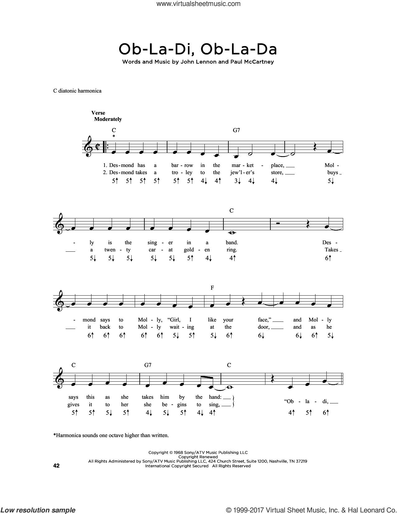 Beatles - Ob-La-Di, Ob-La-Da sheet music for harmonica solo [PDF]