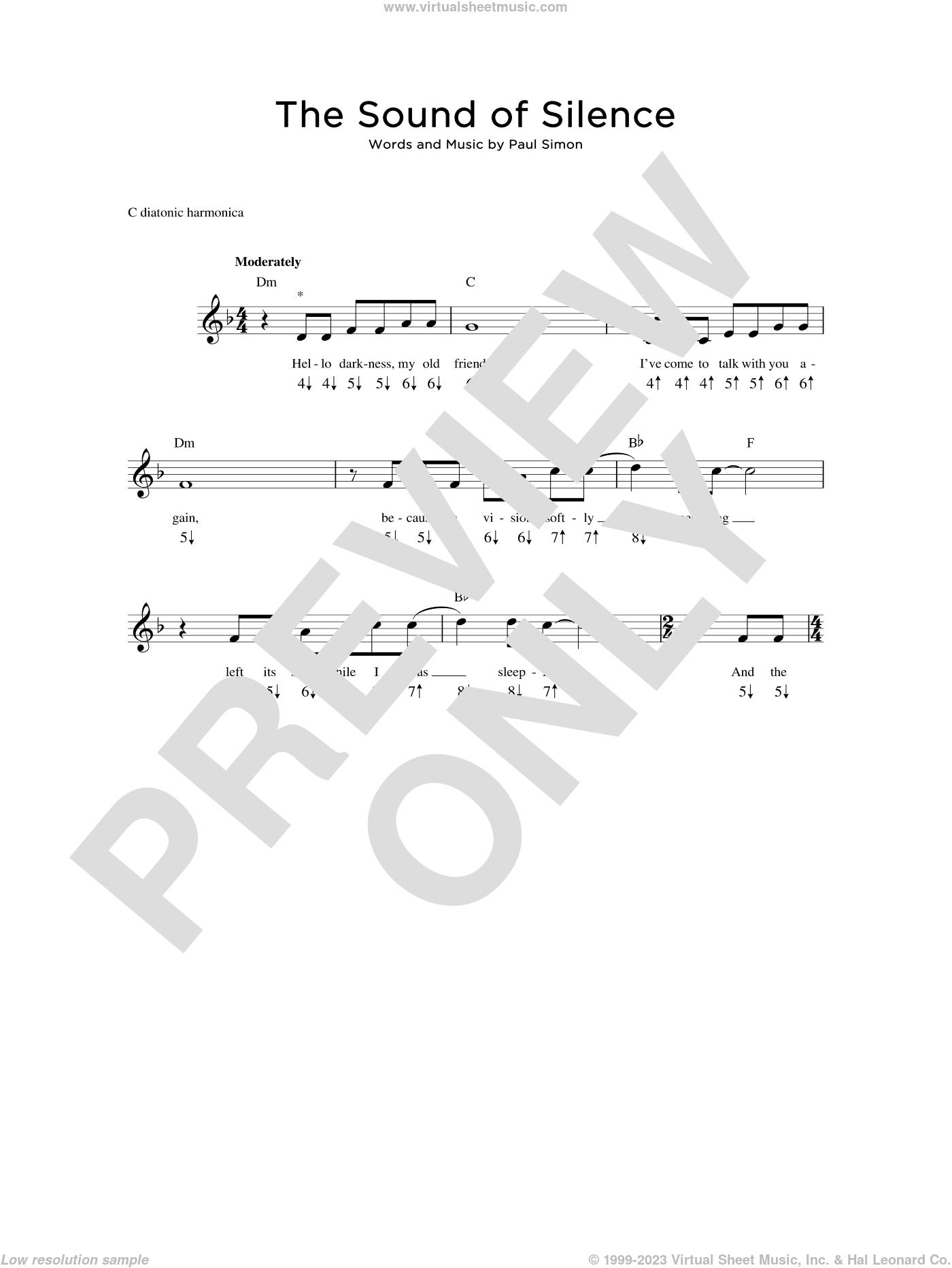The Sound Of Silence sheet music for harmonica solo by Simon & Garfunkel and Paul Simon, intermediate skill level