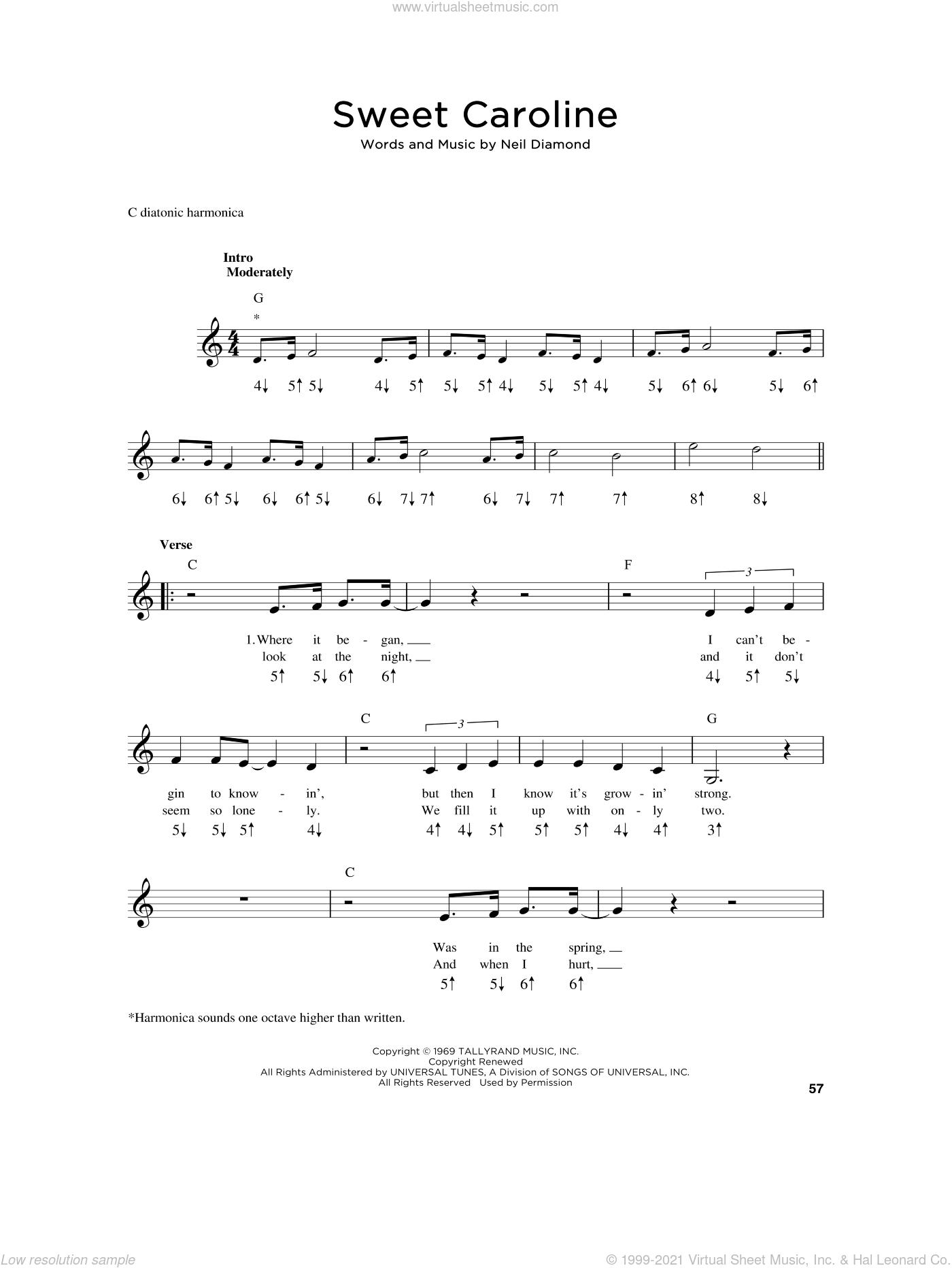 Sweet Caroline sheet music for harmonica solo by Neil Diamond, intermediate skill level