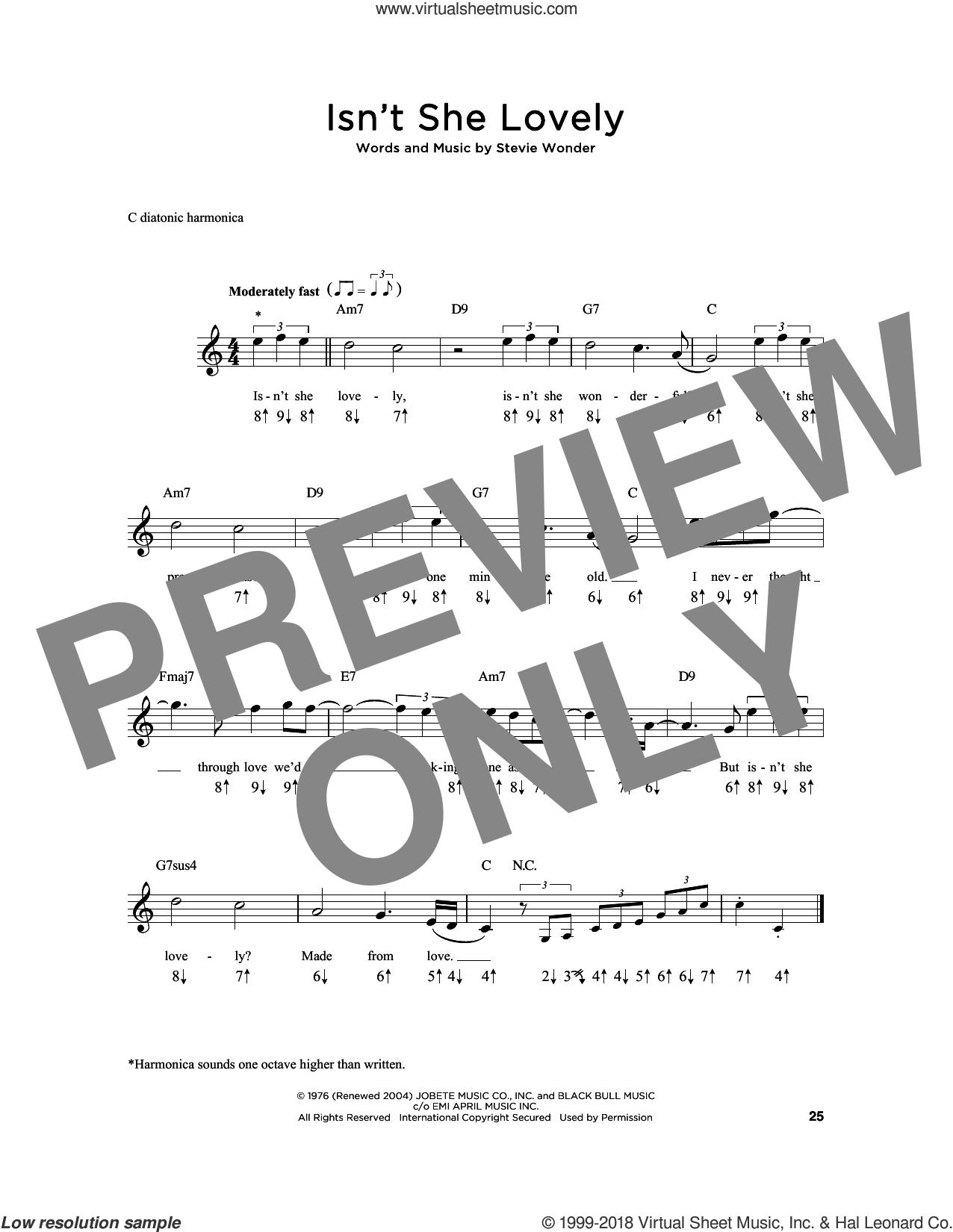 Isn't She Lovely sheet music for harmonica solo by Stevie Wonder, intermediate skill level