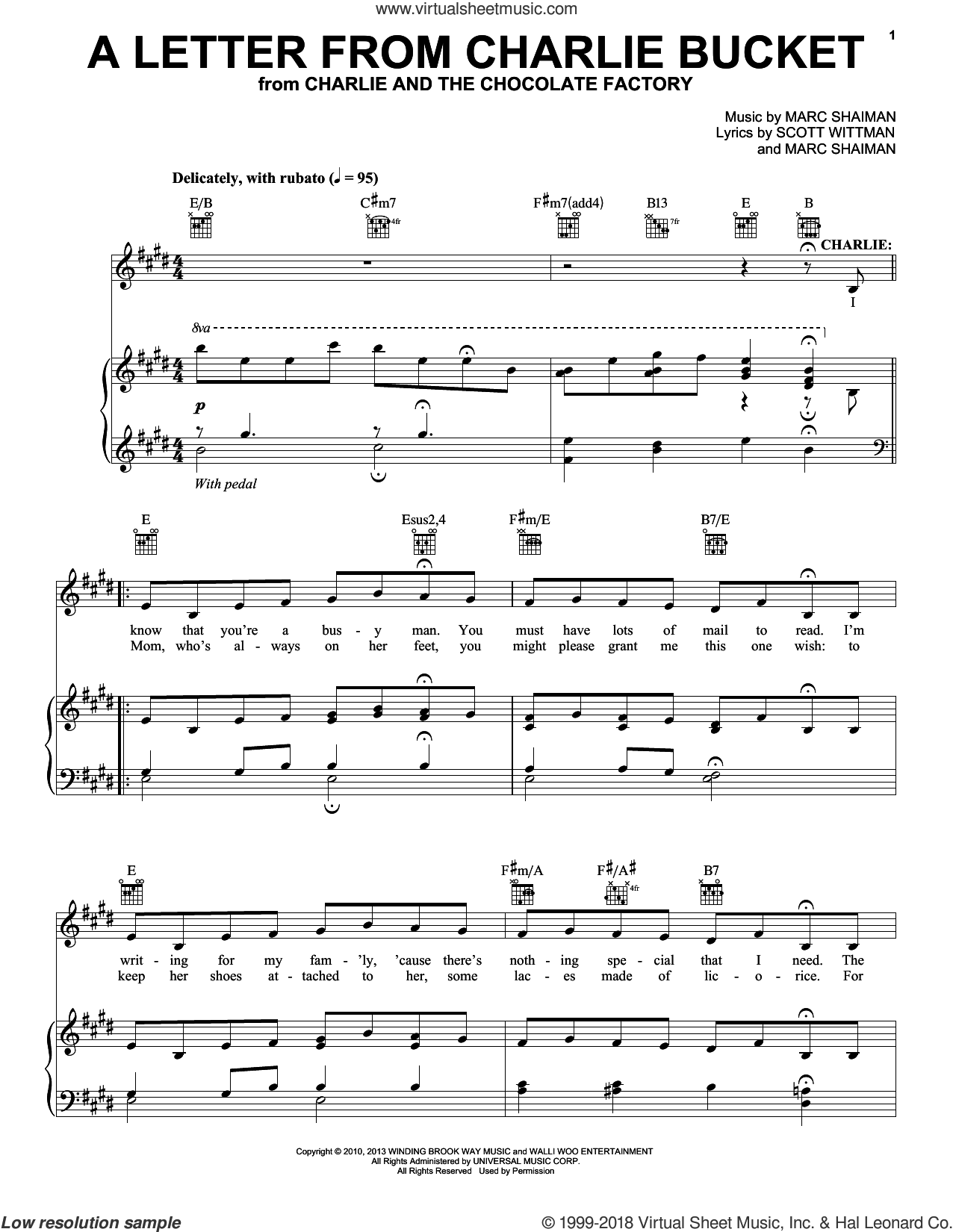 A Letter From Charlie Bucket sheet music for voice and piano by Marc Shaiman, Roald Dahl and Scott Wittman, intermediate skill level