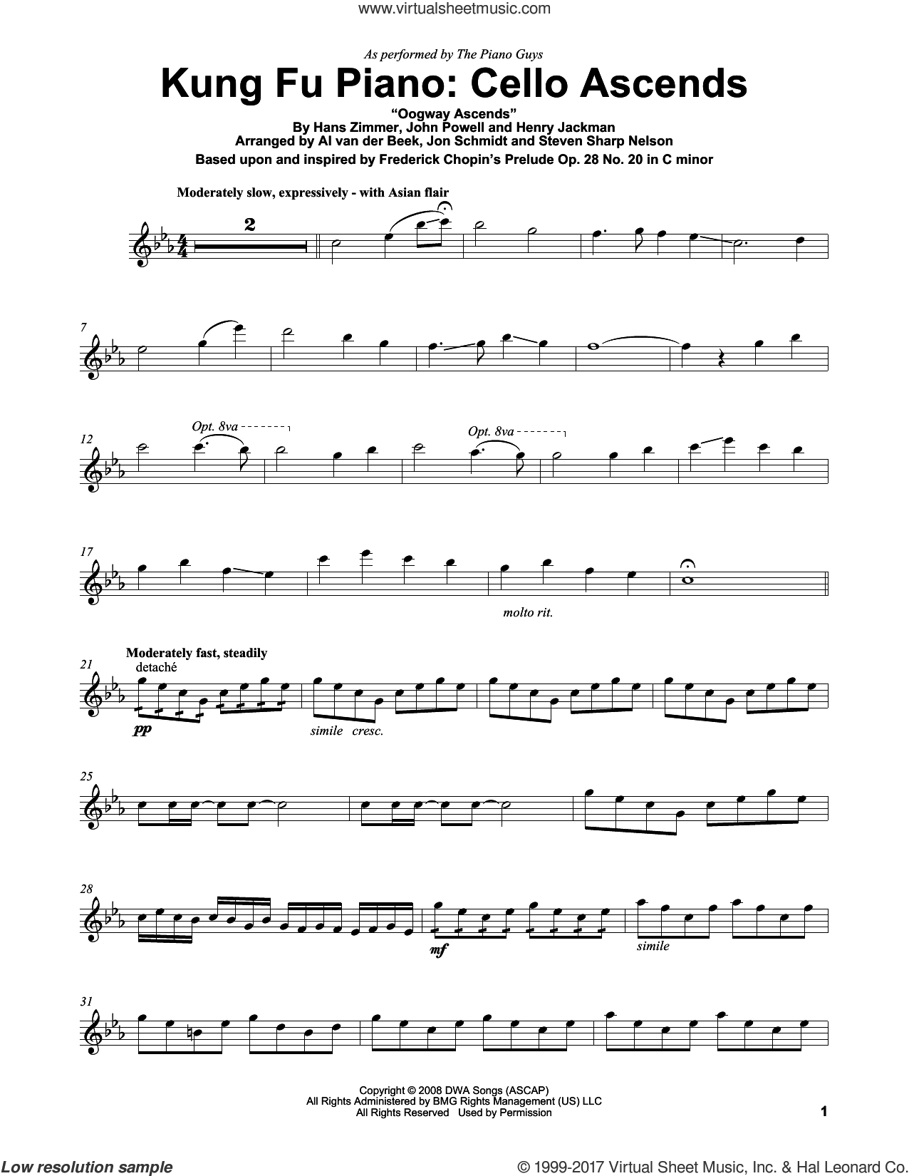Kung Fu Piano: Cello Ascends sheet music for violin solo by The Piano Guys, Frederick Chopin, Hans Zimmer, Henry Jackman and John Powell, intermediate skill level
