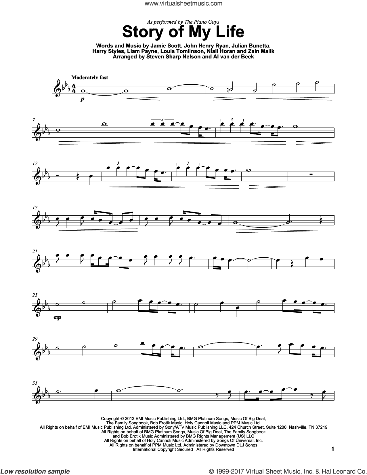 Story Of My Life sheet music for violin solo by The Piano Guys, One Direction, Harry Styles, Jamie Scott, John Henry Ryan, Julian Bunetta, Liam Payne, Louis Tomlinson, Niall Horan and Zain Malik, intermediate. Score Image Preview.