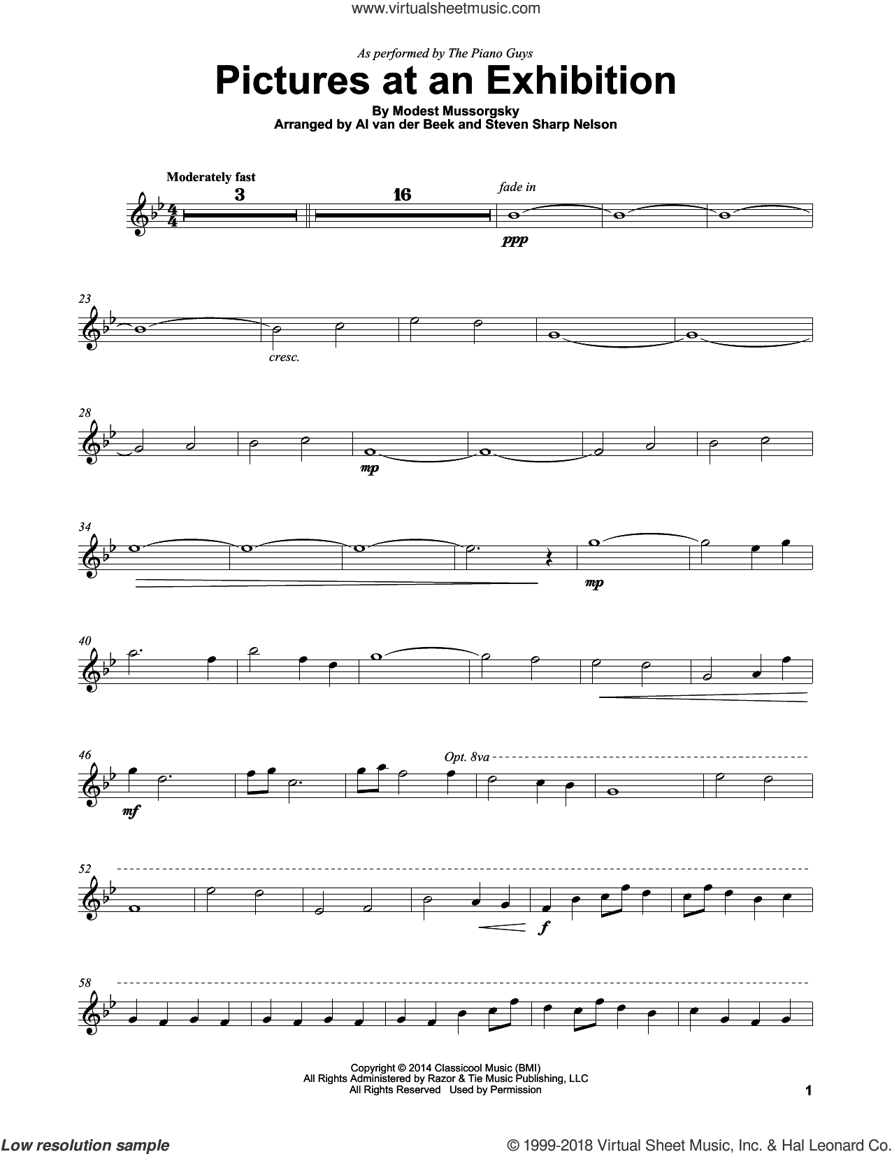 Pictures At An Exhibition sheet music for violin solo by The Piano Guys and Modest Petrovic Mussorgsky, intermediate skill level