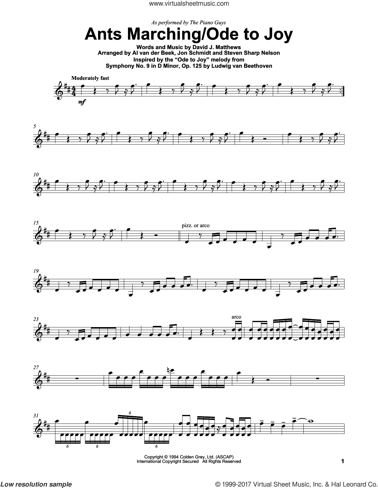 Ants Marching/Ode To Joy sheet music for violin solo by The Piano Guys, Dave Matthews Band and Ludwig van Beethoven, intermediate skill level